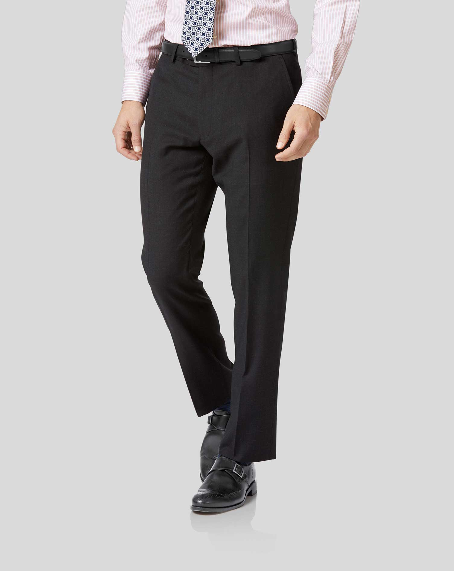 Wool Charcoal Slim Fit Twill Business Suit Trousers