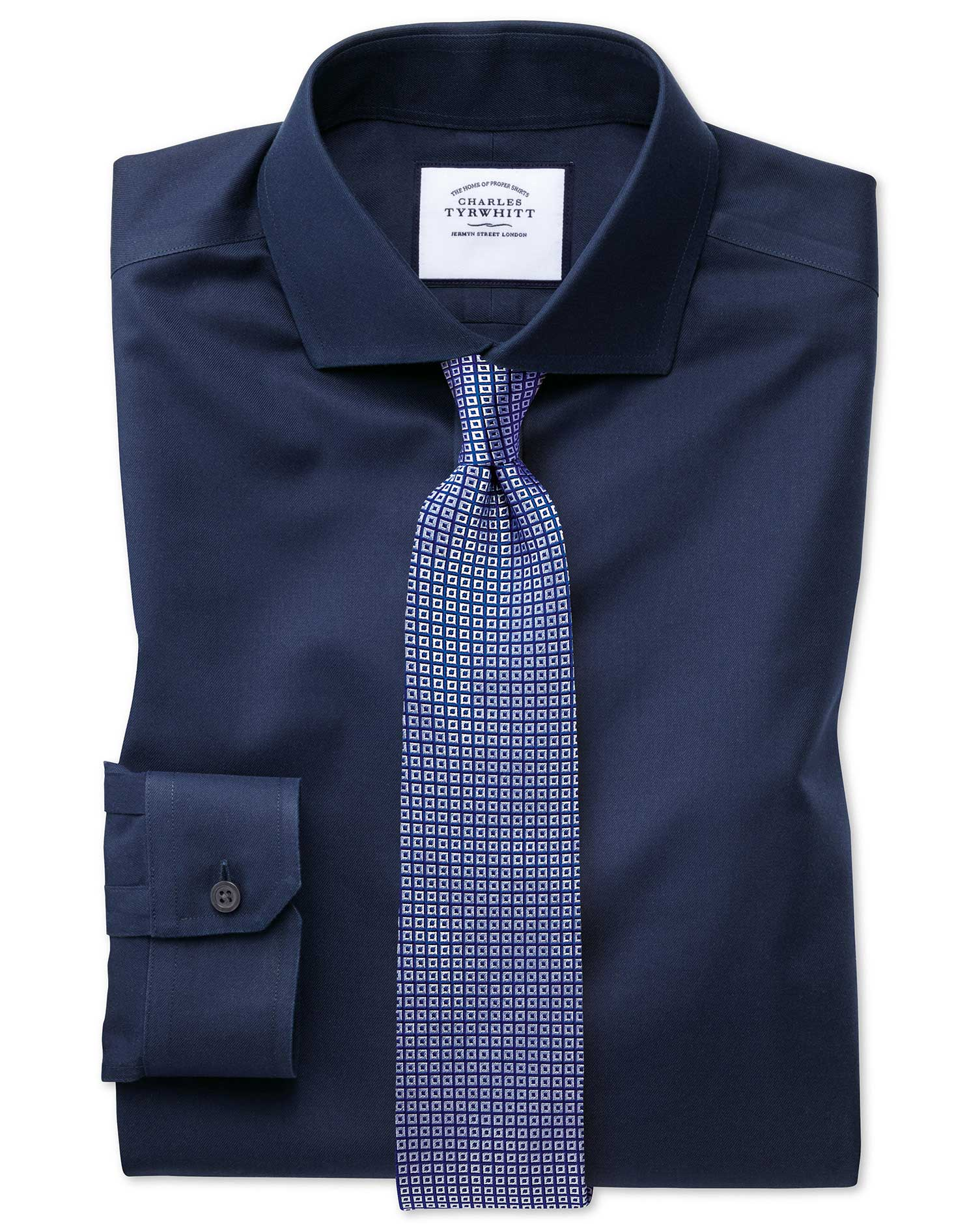 Super slim fit cutaway non iron twill navy shirt charles for Slim fit non iron shirts
