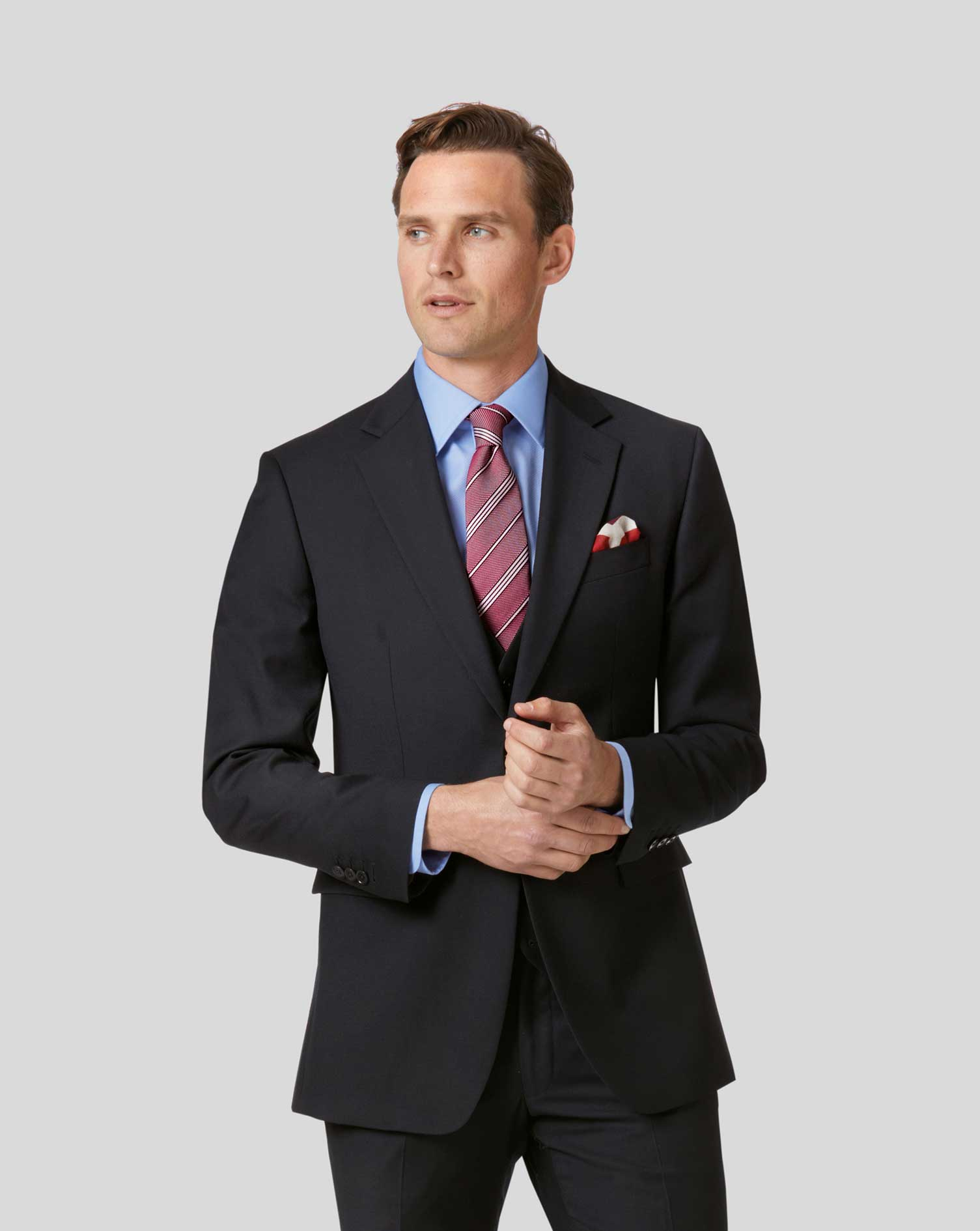 Wool Twill Business Suit Jacket - Black