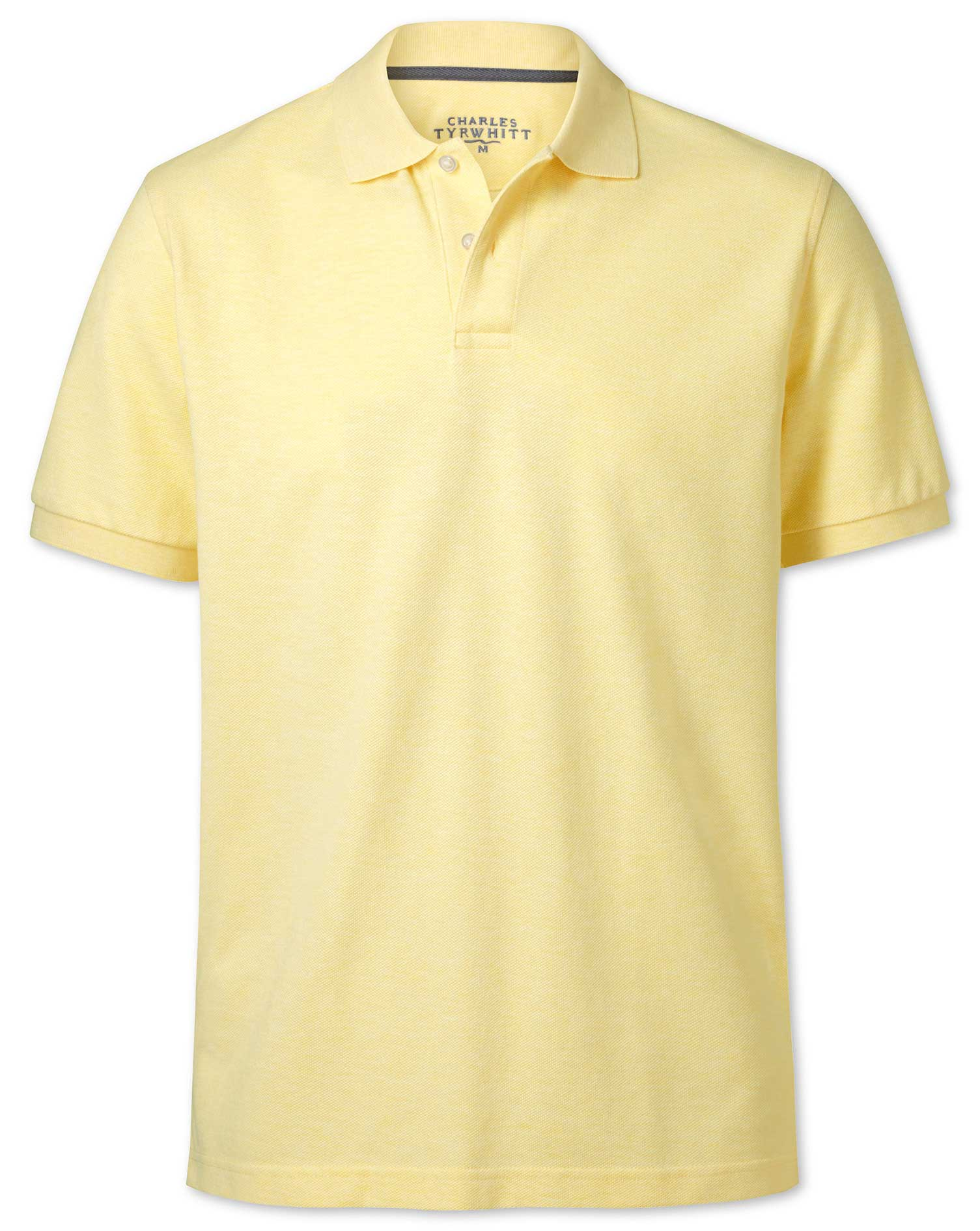 Light Yellow Melange Pique Cotton Polo Size Small by Charles Tyrwhitt