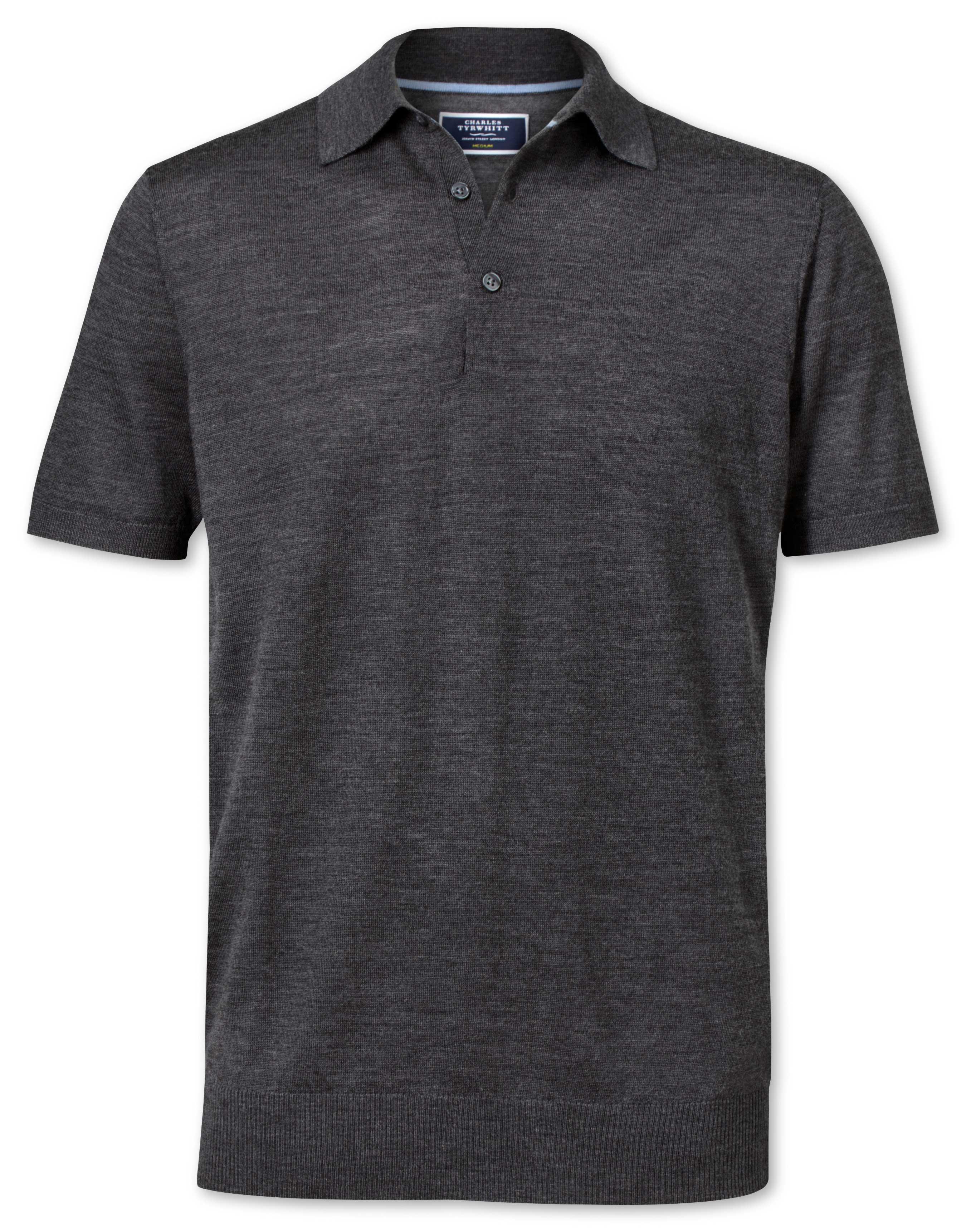 Charcoal Merino Wool Polo Collar Short Sleeve Jumper Size XS by Charles Tyrwhitt