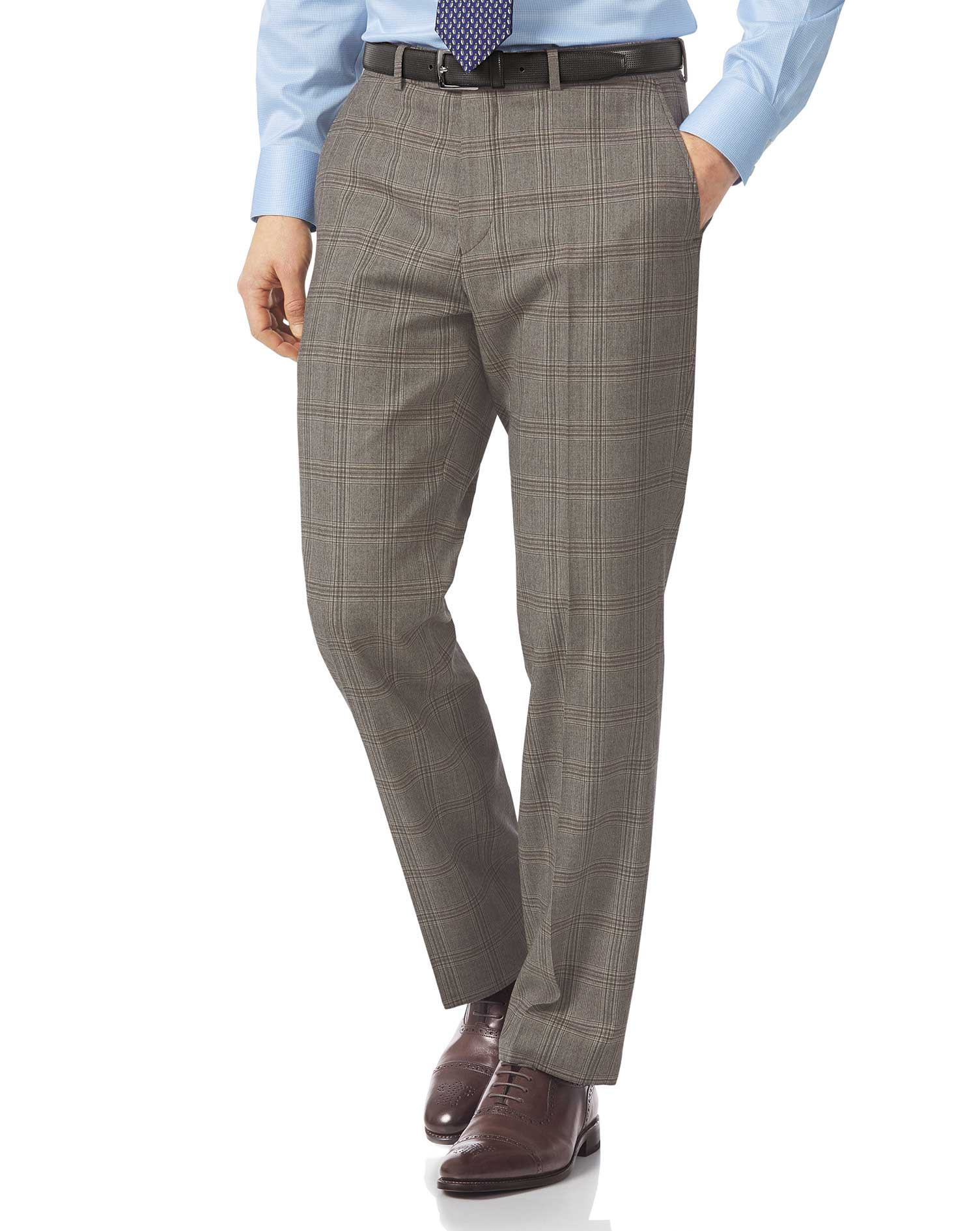 Grey classic fit British Prince of Wales check luxury suit trousers