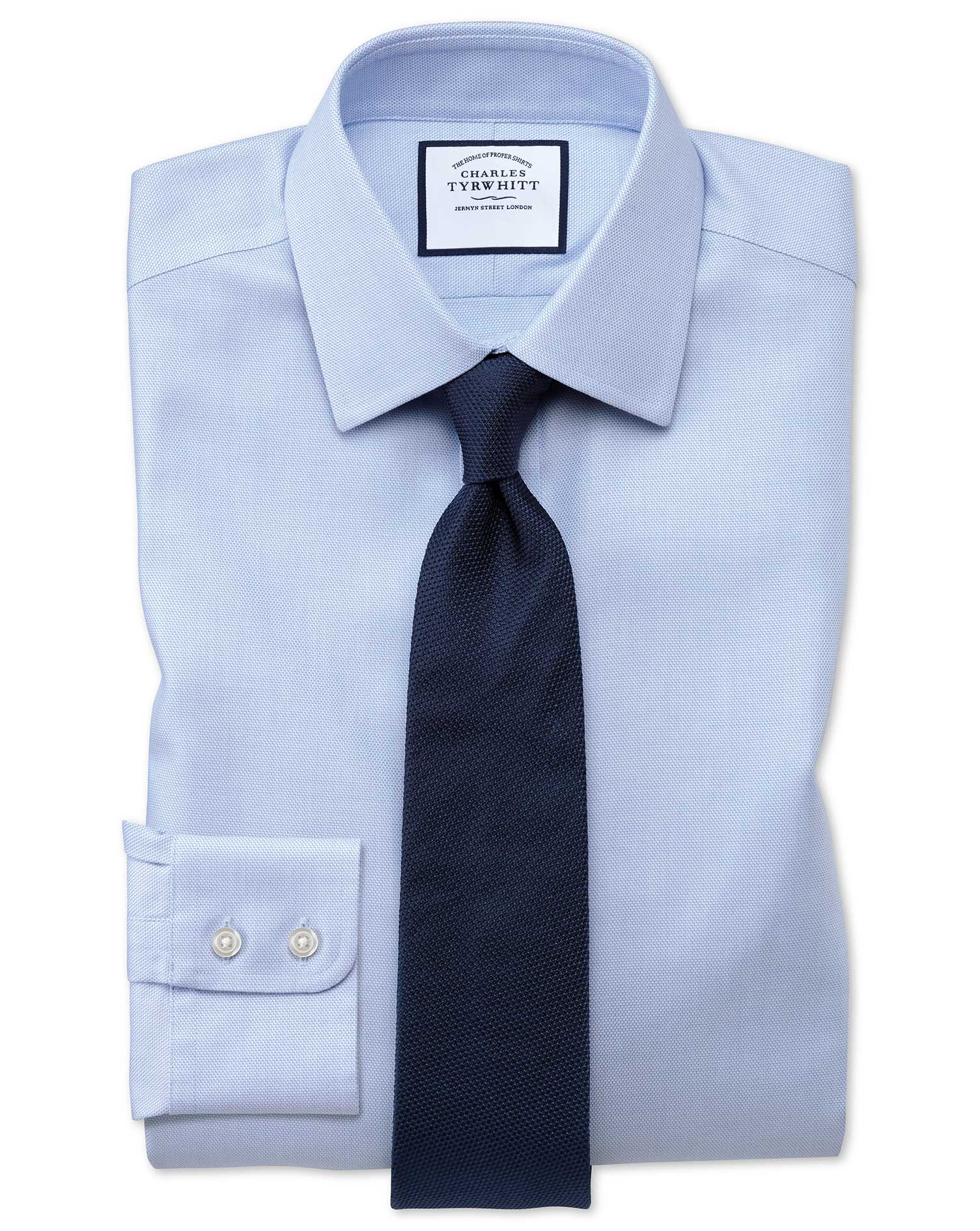 Extra Slim Fit Non-Iron Step Weave Sky Blue Cotton Formal Shirt Double Cuff Size 16.5/34 by Charles