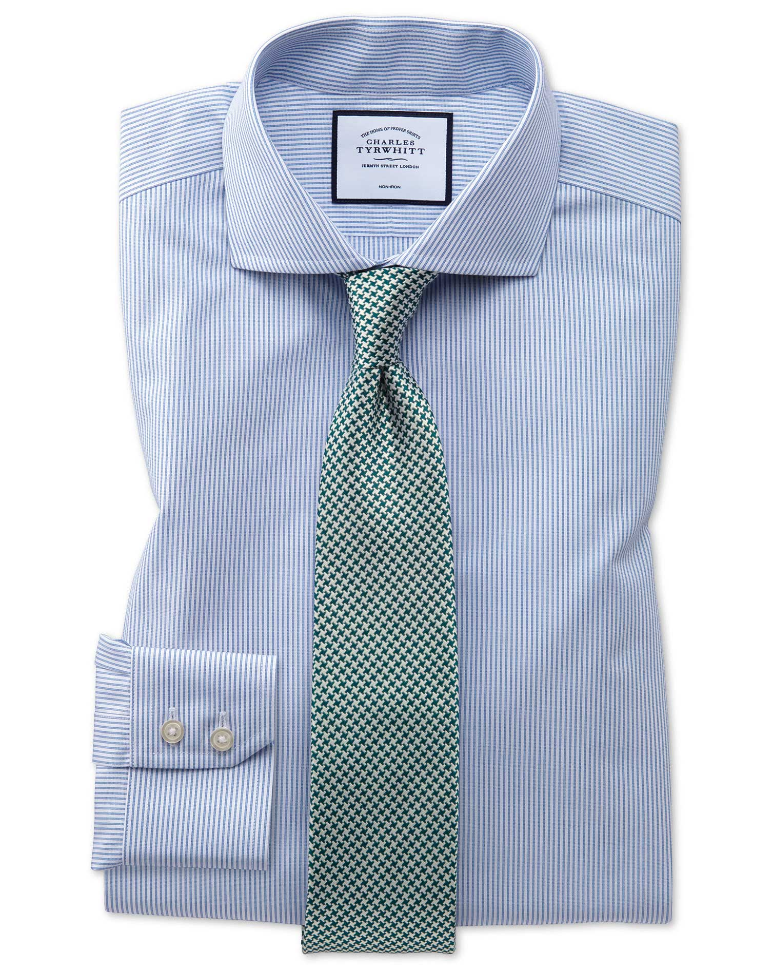 Slim Fit Non-Iron Natural Cool Blue Stripe Cotton Formal Shirt Single Cuff Size 17/34 by Charles Tyr