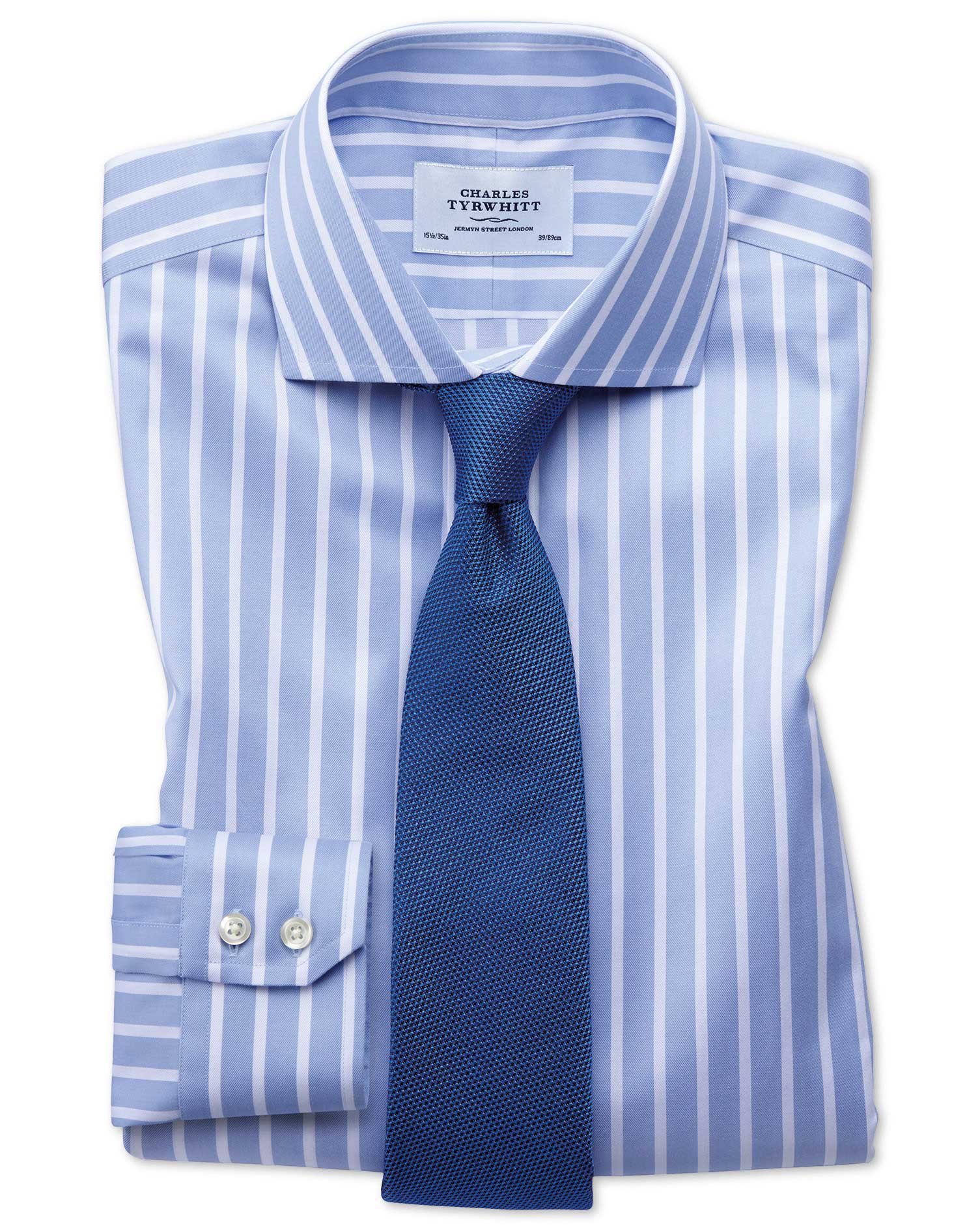 Slim fit spread collar non iron bengal wide stripe sky for Wide spread collar shirt