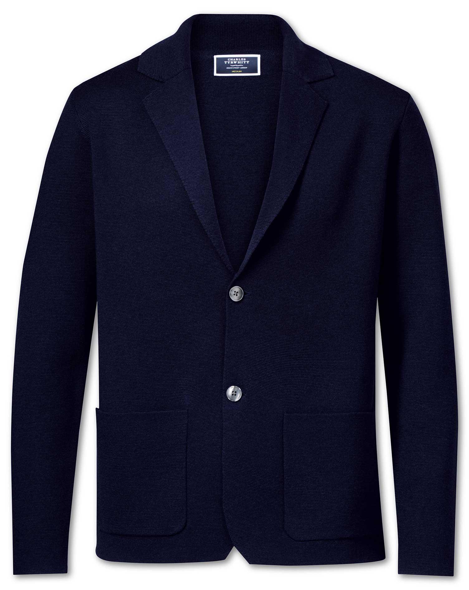 Navy Merino Wool Blazer Size Large by Charles Tyrwhitt