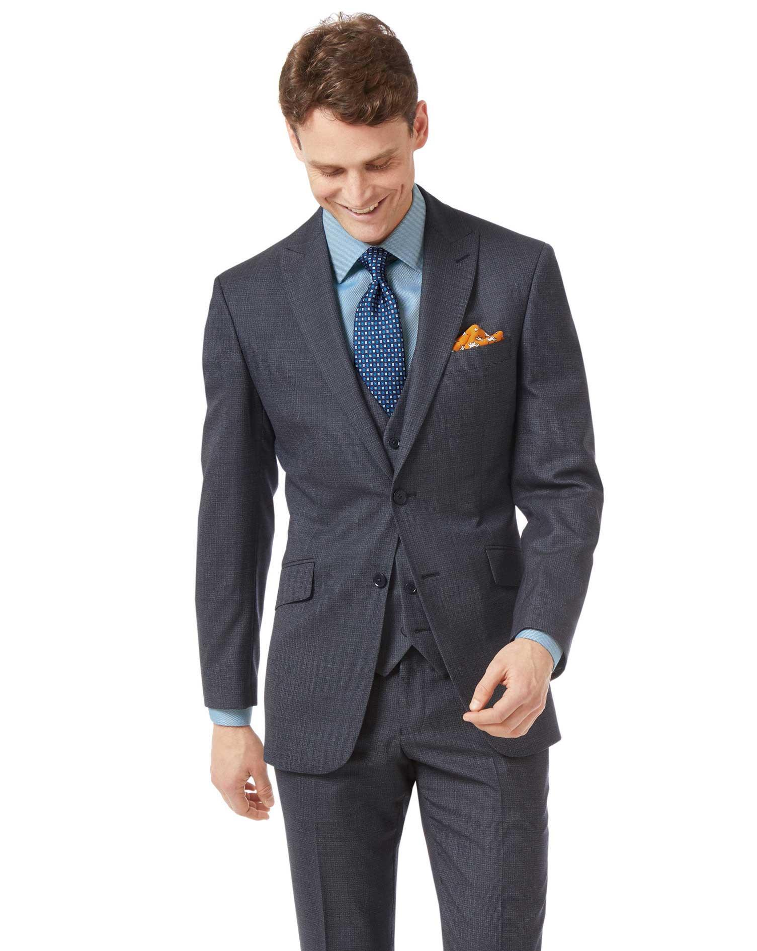 Airforce Blue Slim Jaspe Business Suit Wool Jacket Size 38 Short by Charles Tyrwhitt