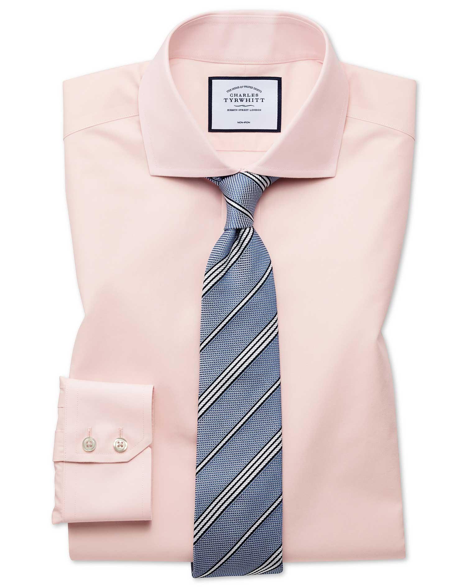 Slim Fit Non-Iron Tyrwhitt Cool Poplin Peach Cotton Formal Shirt Single Cuff Size 16/33 by Charles T