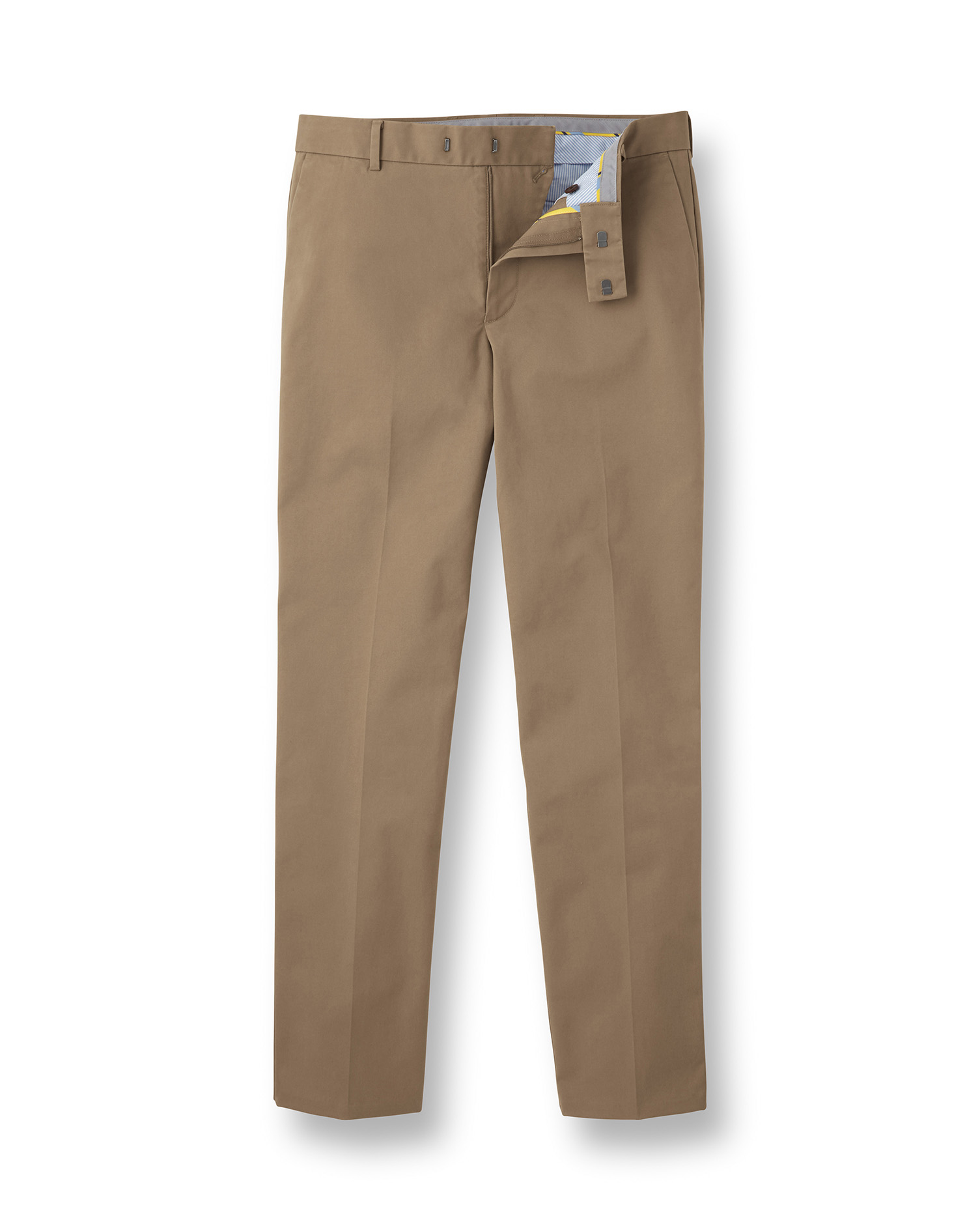Fawn Flat Front Non-Iron Cotton Chino Trousers Size W34 L30 by Charles Tyrwhitt