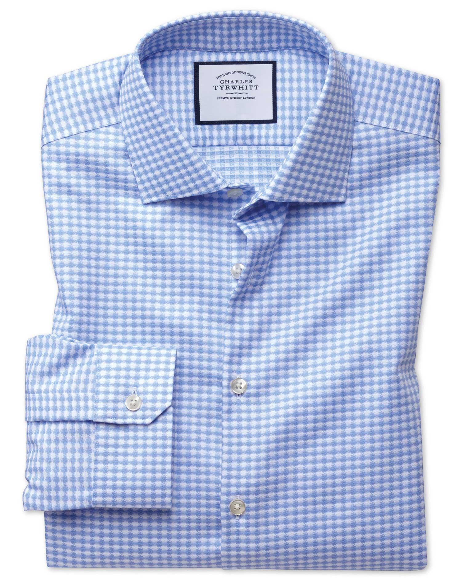 Super Slim Fit Semi-Cutaway Business Casual Non-Iron Modern Textures Sky Blue Cotton Formal Shirt Si