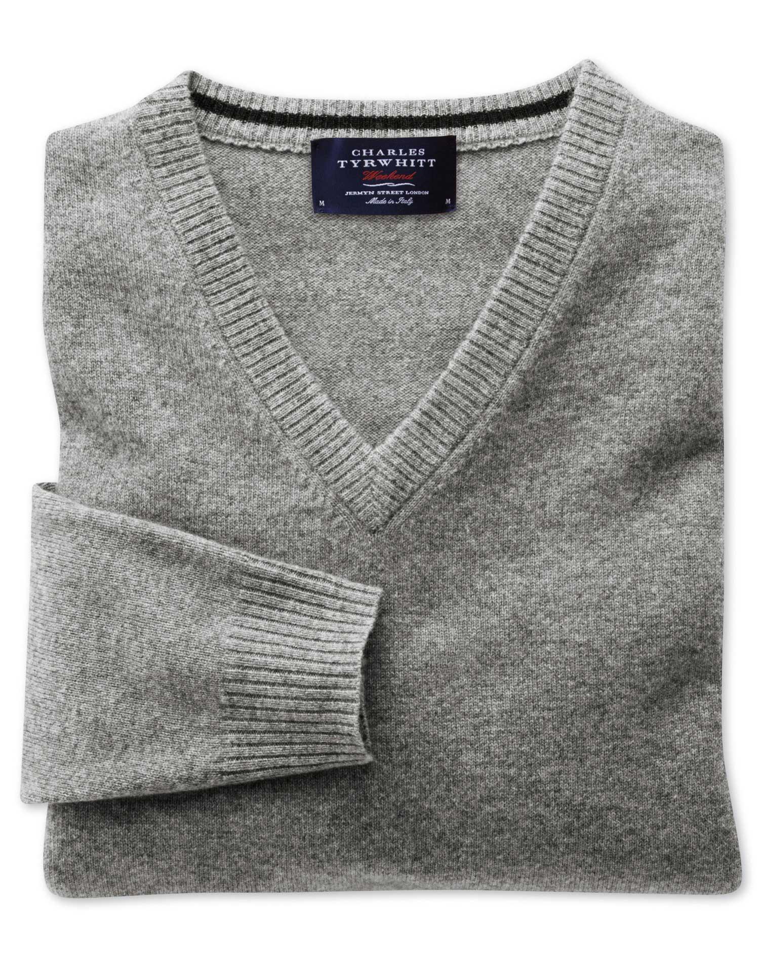Silver Grey Cashmere V-Neck Jumper Size Medium by Charles Tyrwhitt