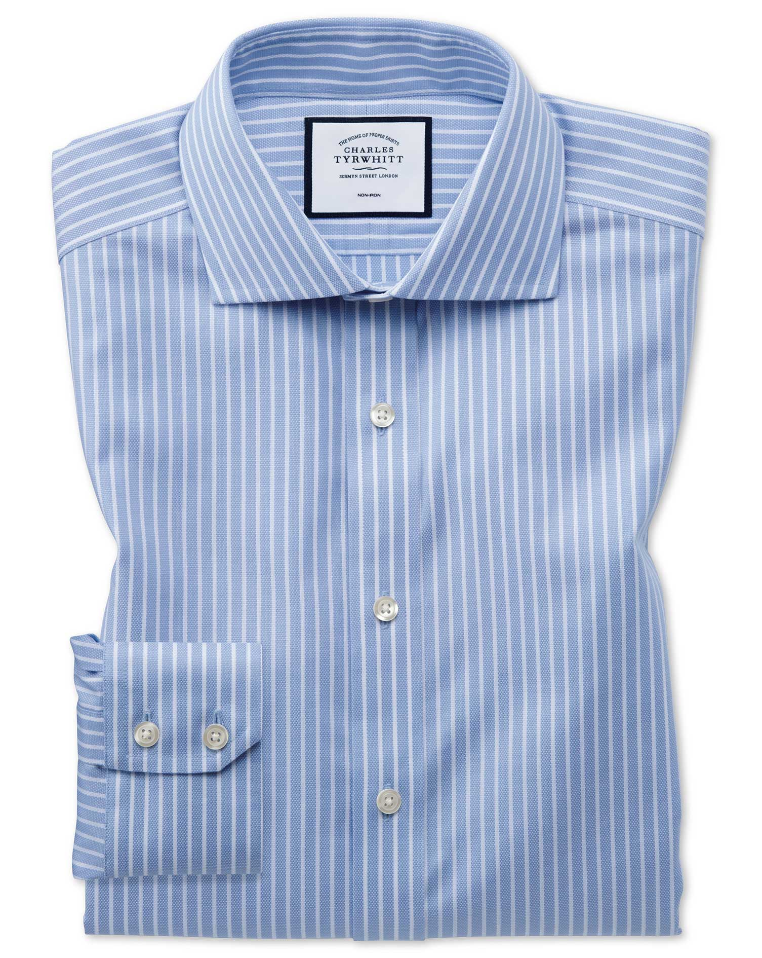 Extra Slim Fit Non-Iron Cotton Stretch Oxford Sky Blue and White Check Formal Shirt Single Cuff Size