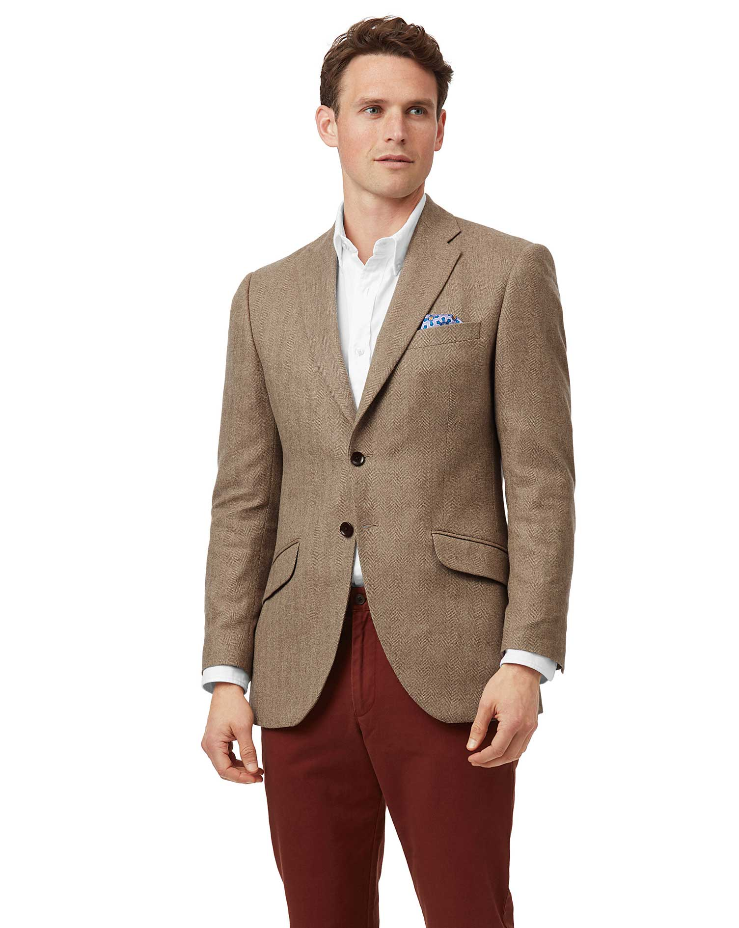 Cotton/cashmere Classic Fit Tan Herringbone British Wool And Cashmere Jacket