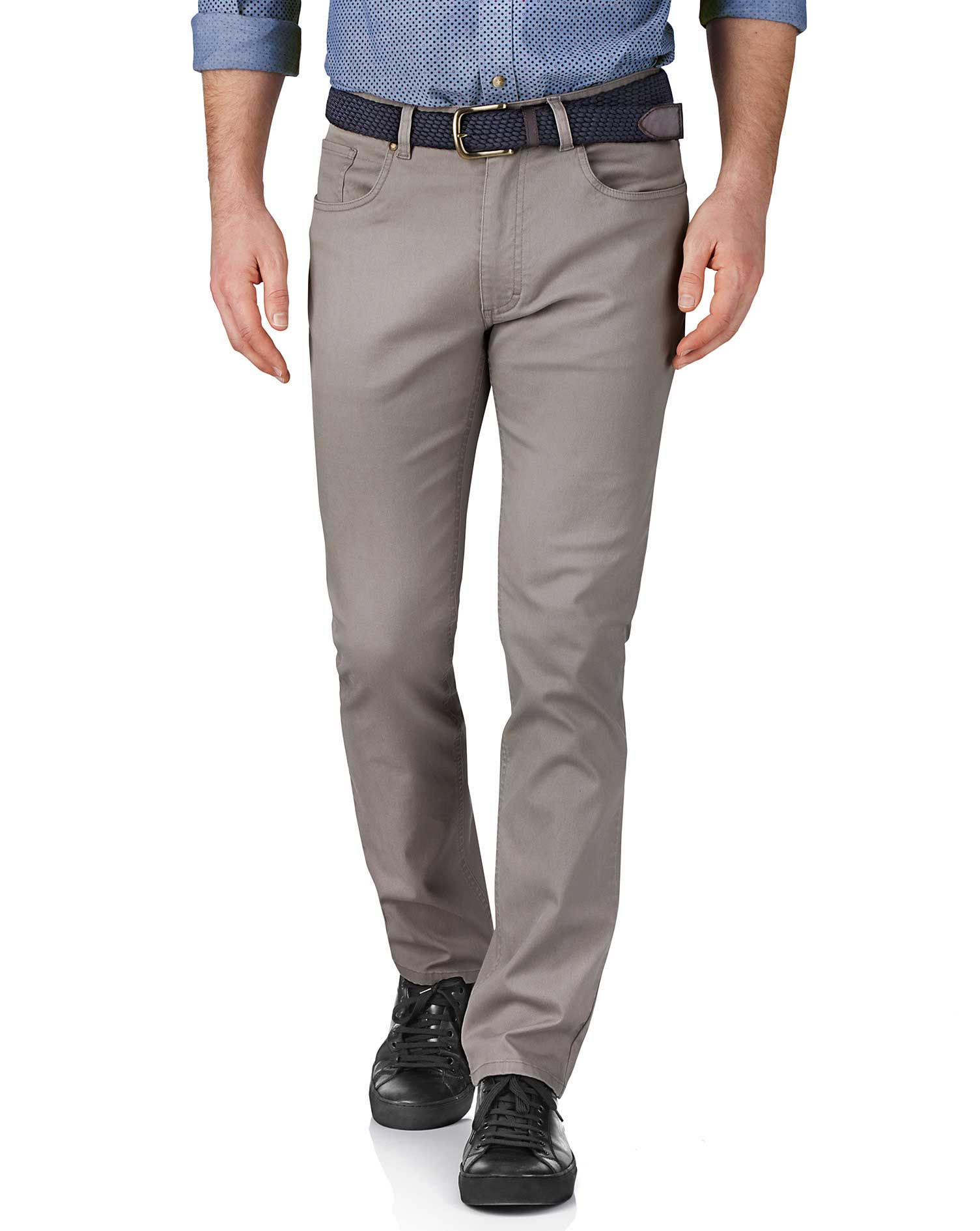 Silver Slim Fit Stretch Pique 5 Pocket Trousers Size W40 L32 by Charles Tyrwhitt