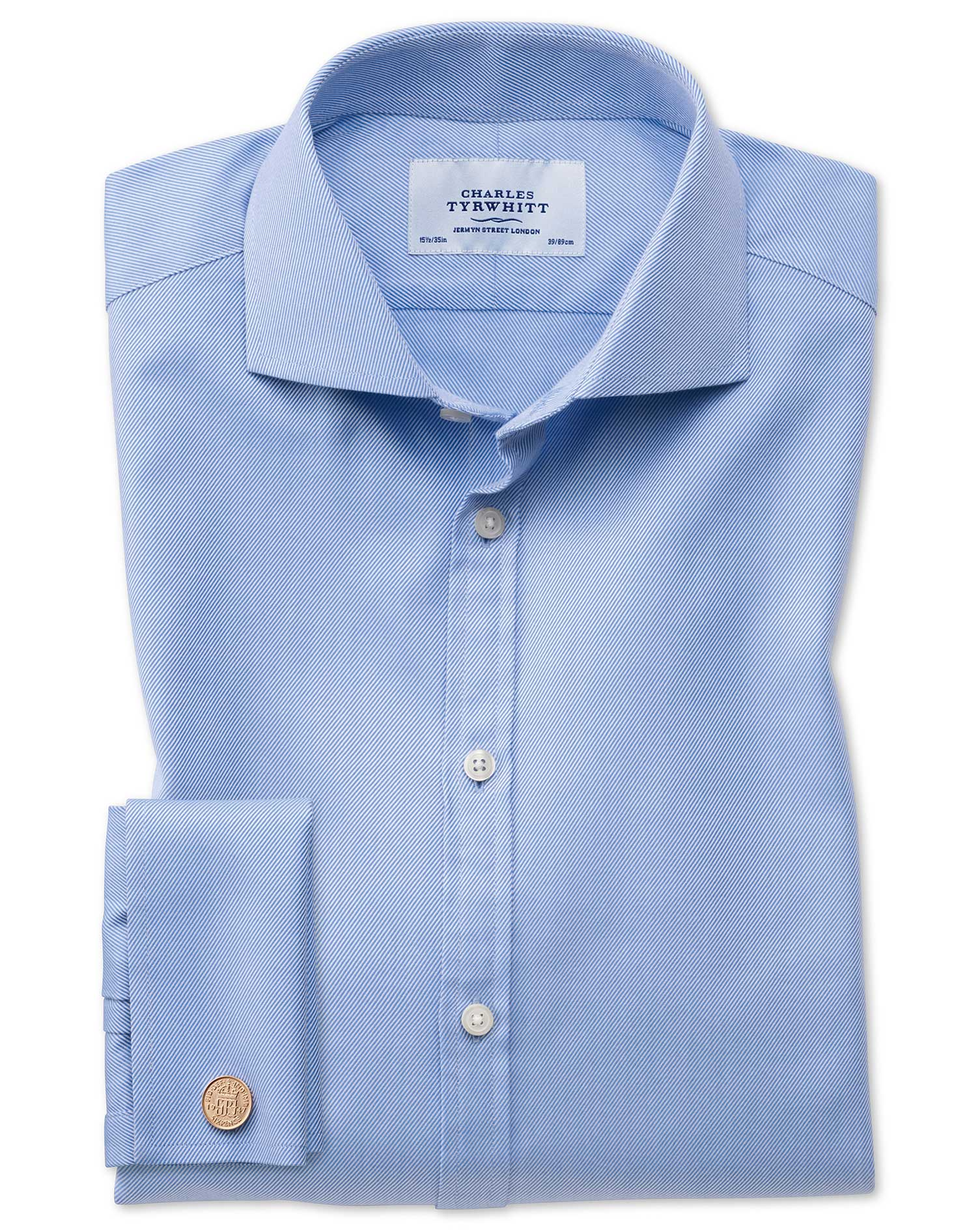 Extra Slim Fit Cutaway Egyptian Cotton Cavalry Twill Blue Formal Shirt Double Cuff Size 16/34 by Cha