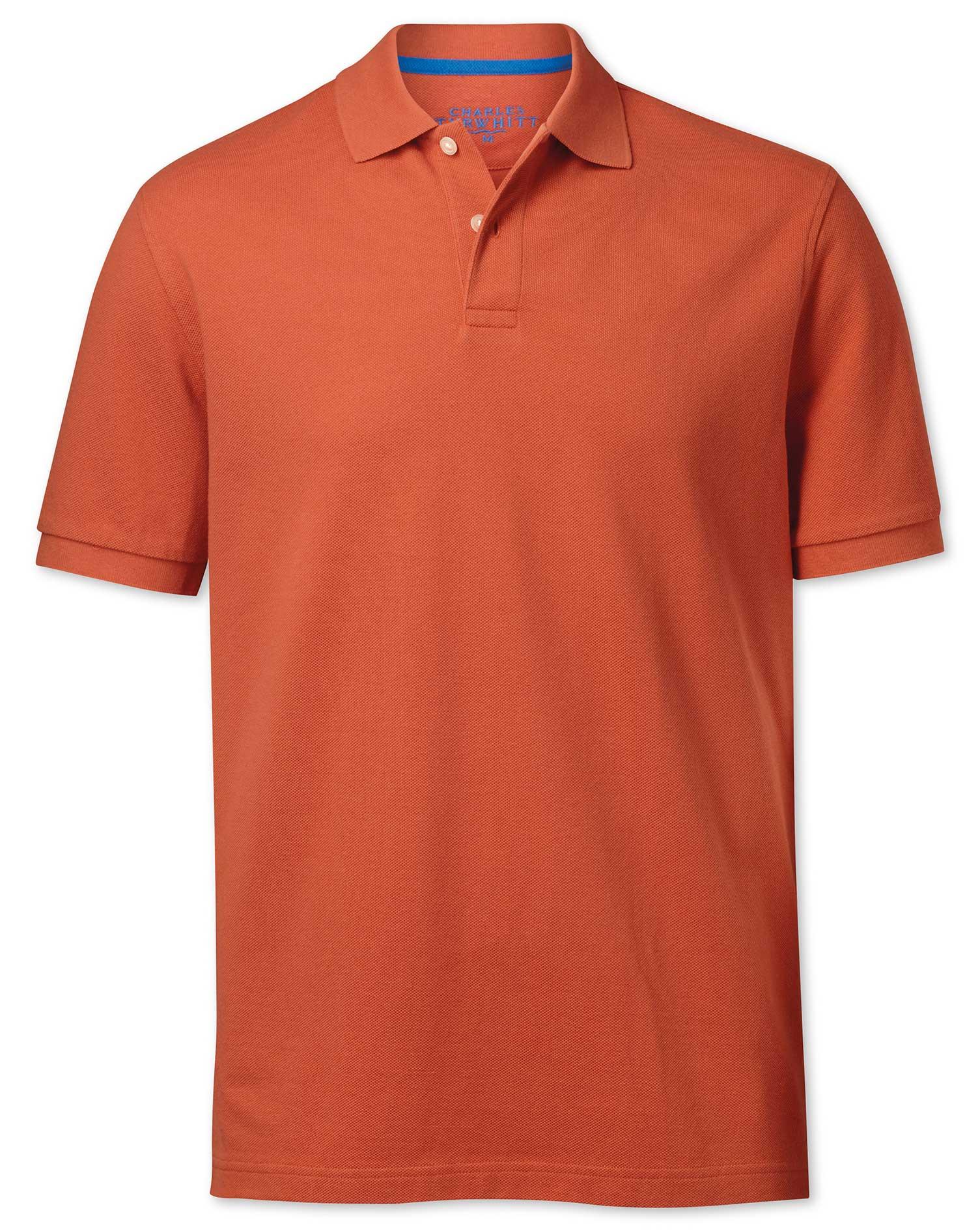 Dark Orange Pique Cotton Polo Size Small by Charles Tyrwhitt