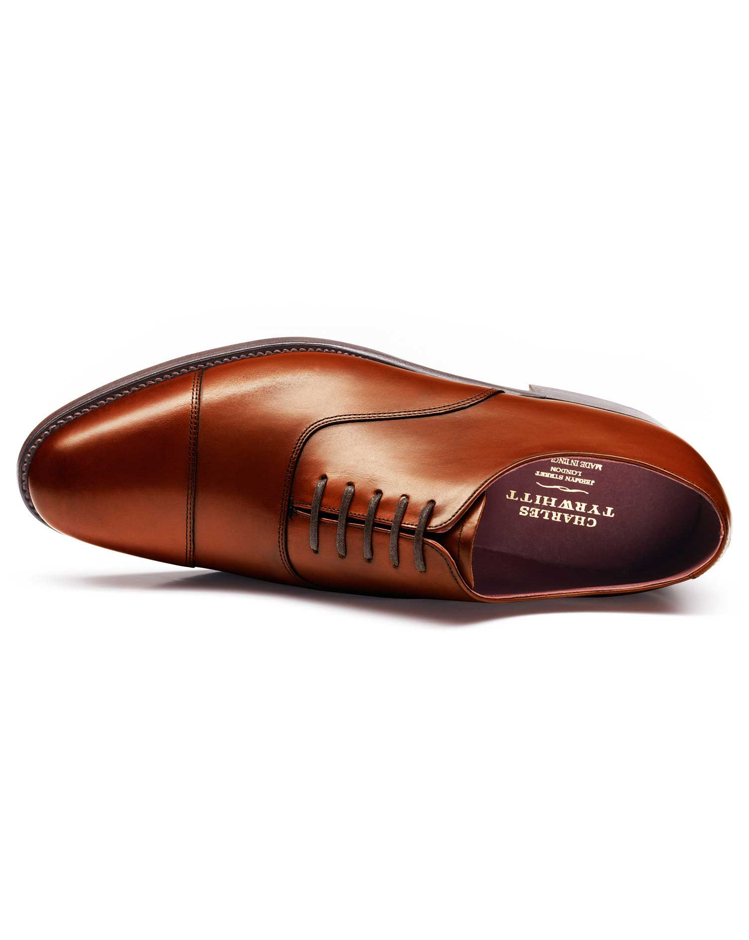 Brown Heathcote Calf Leather Toe Cap Oxford Shoes Size 8 R by Charles Tyrwhitt