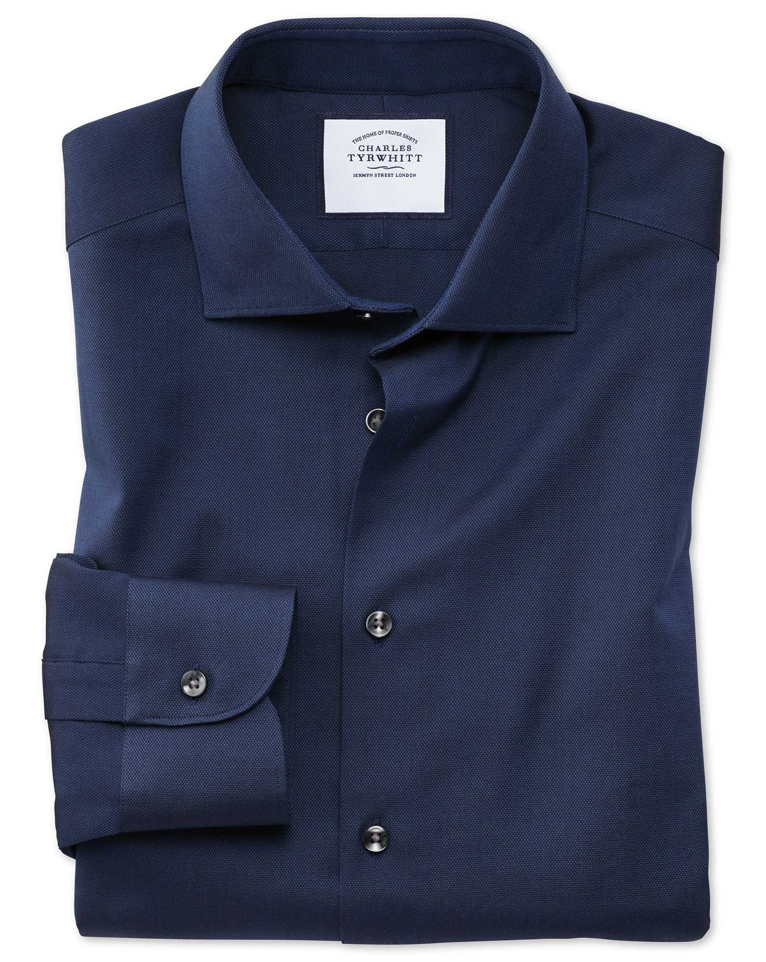 Extra Slim Fit Business Casual Navy Royal Oxford Cotton Formal Shirt Single Cuff Size 17/34 by Charl