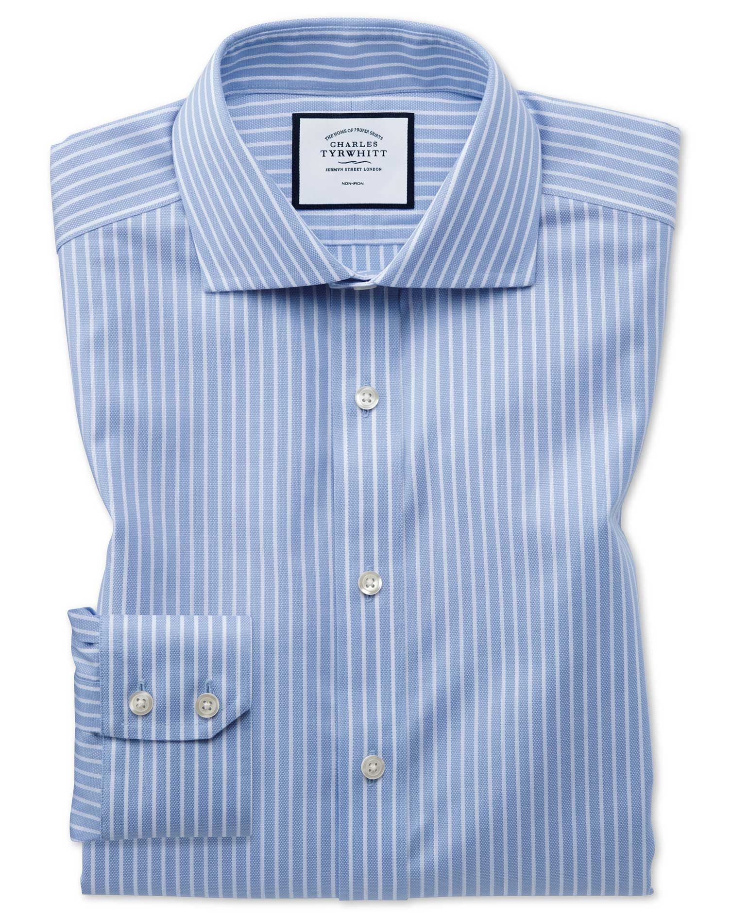 Slim Fit Non-Iron Cotton Stretch Oxford Sky Blue and White Stripe Formal Shirt Single Cuff Size 15.5
