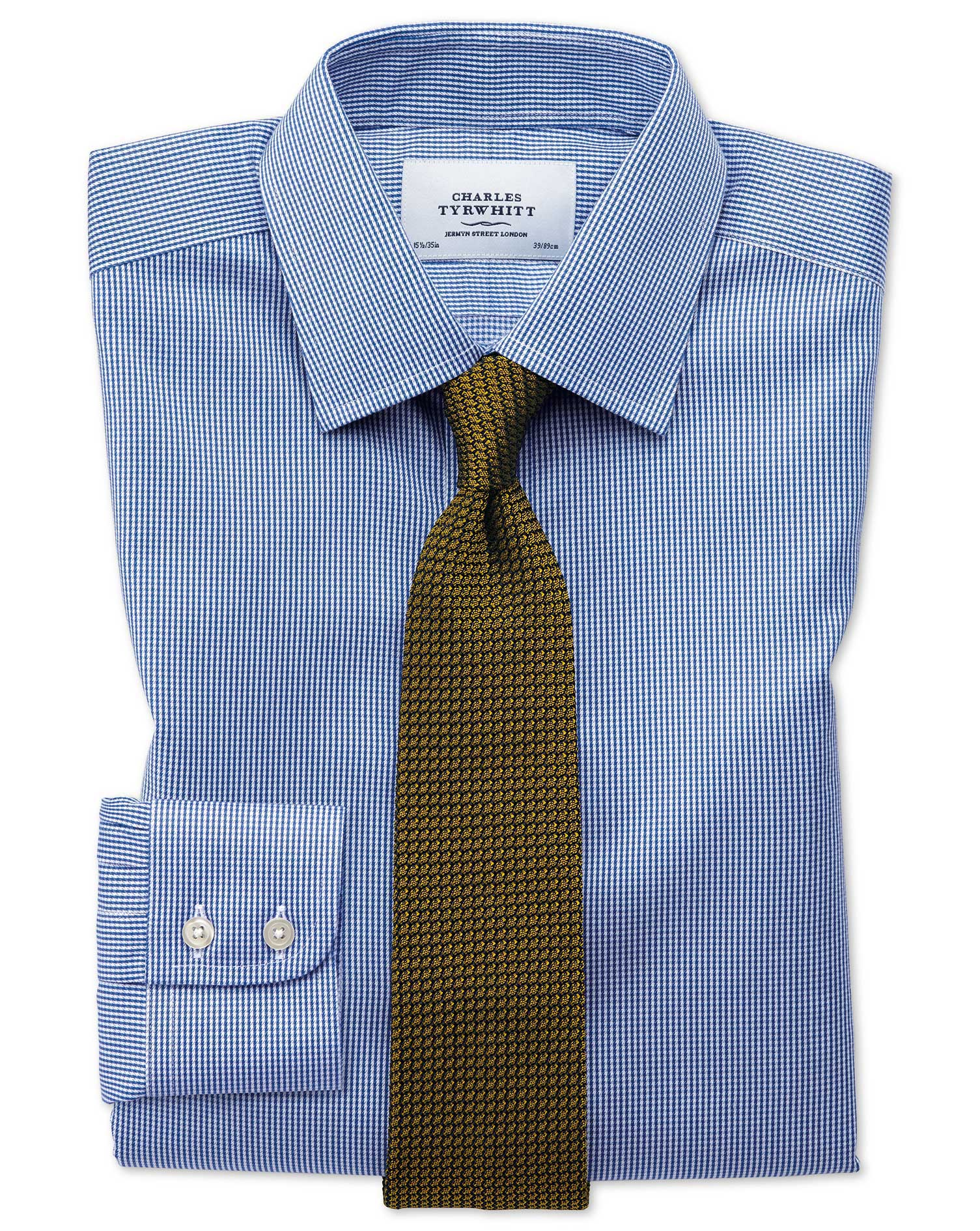 Extra slim fit non iron puppytooth royal blue shirt for Slim fit non iron shirts