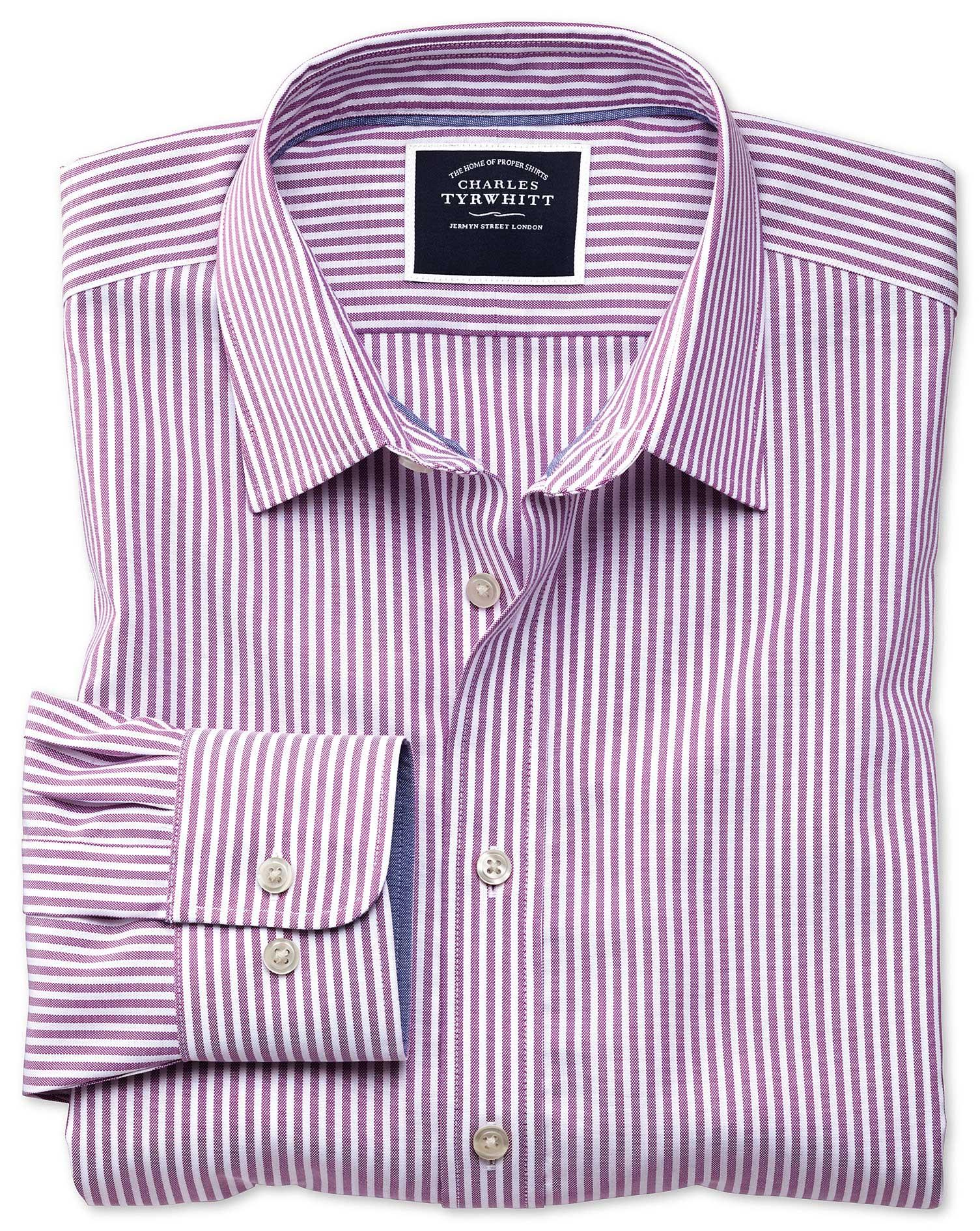 50df078e3 Classic fit non-iron purple Bengal stripe Oxford shirt | Charles ...