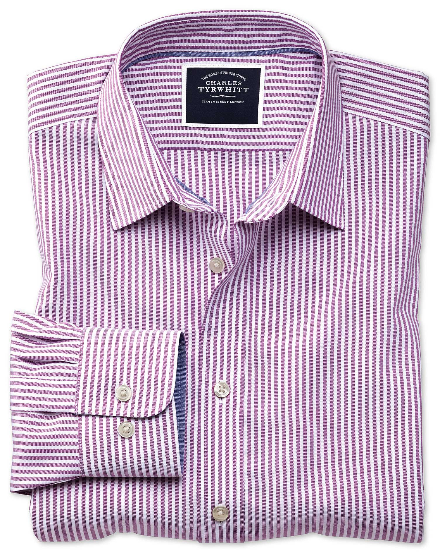 slim fit non-iron purple bengal stripe oxford cotton casual shirt single cuff size xs by charles tyrwhitt
