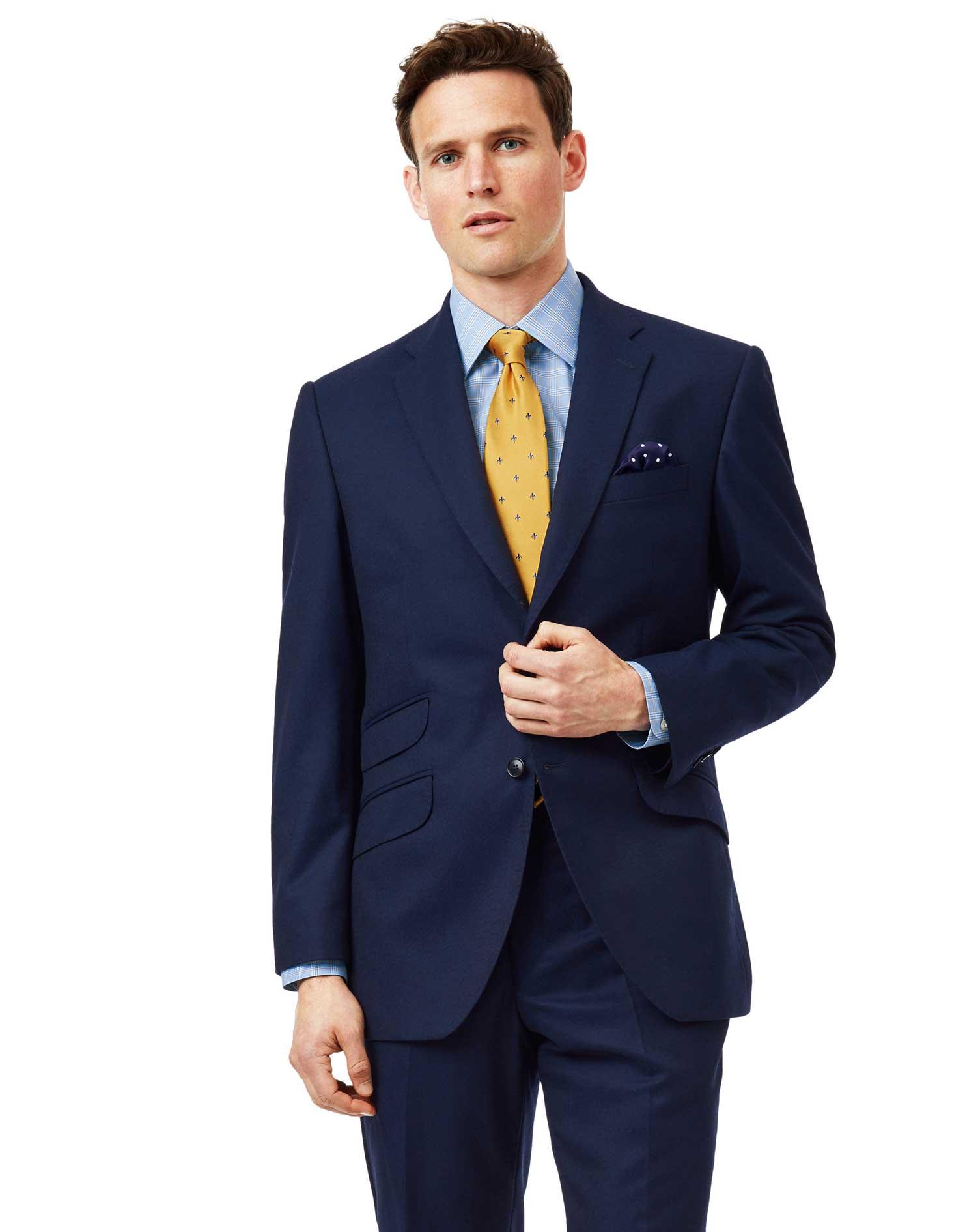 Wool Blue Classic Fit British Luxury Suit Jacket