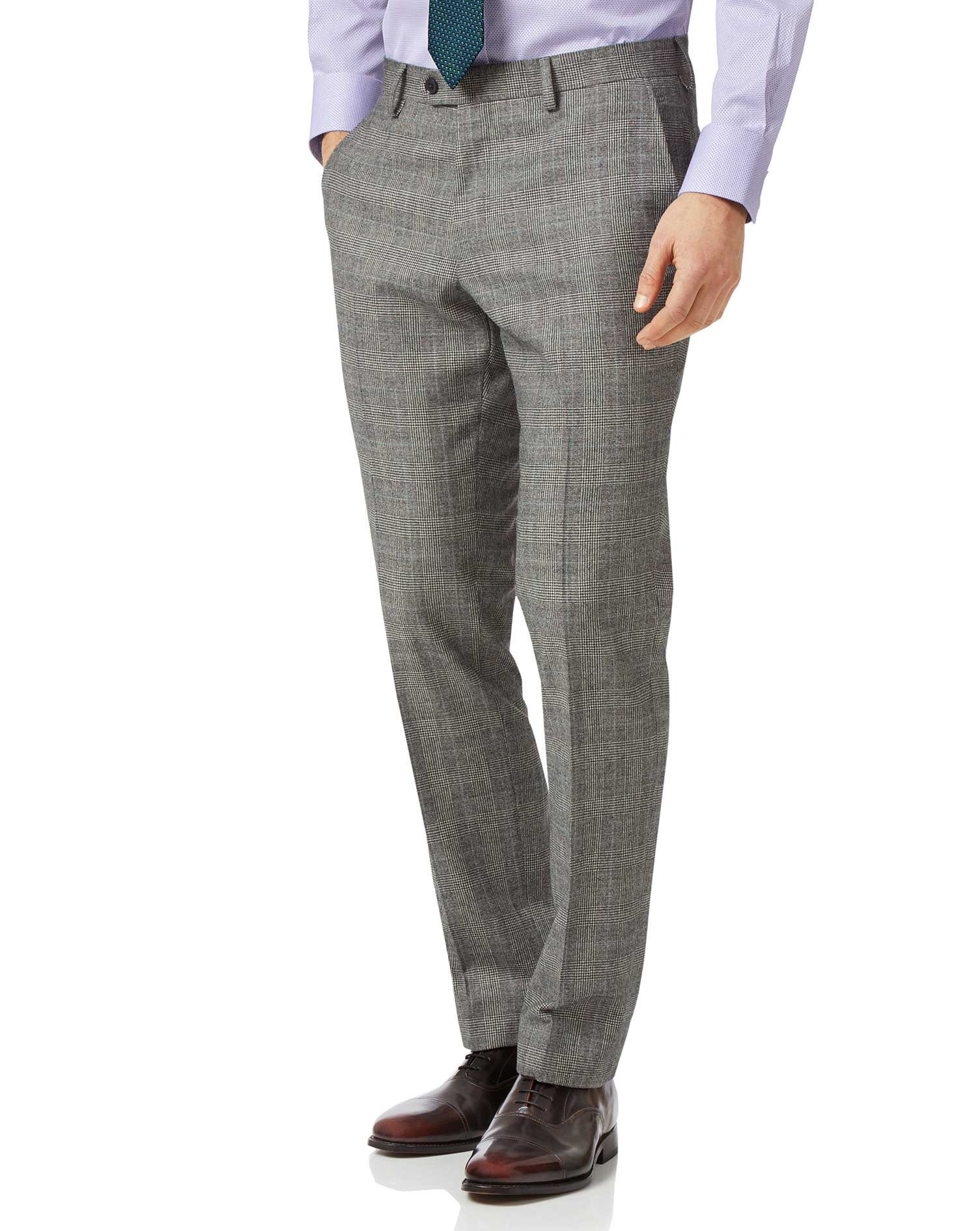 Grey Slim Fit Prince Of Wales Check Flannel Business Suit Trousers Size W34 L38 by Charles Tyrwhitt