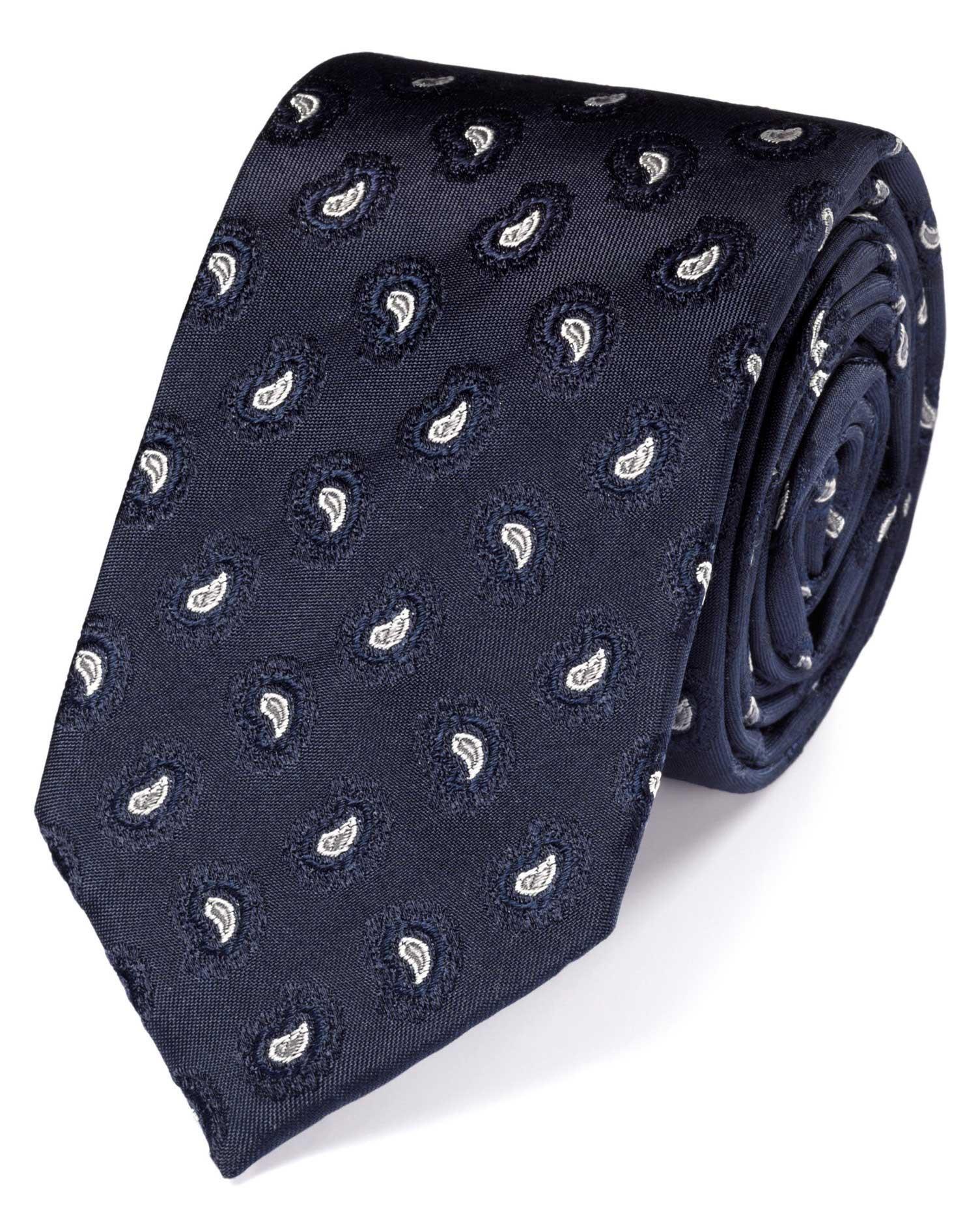 cravate de luxe bleu marine slim en soie motif cachemire charles tyrwhitt. Black Bedroom Furniture Sets. Home Design Ideas