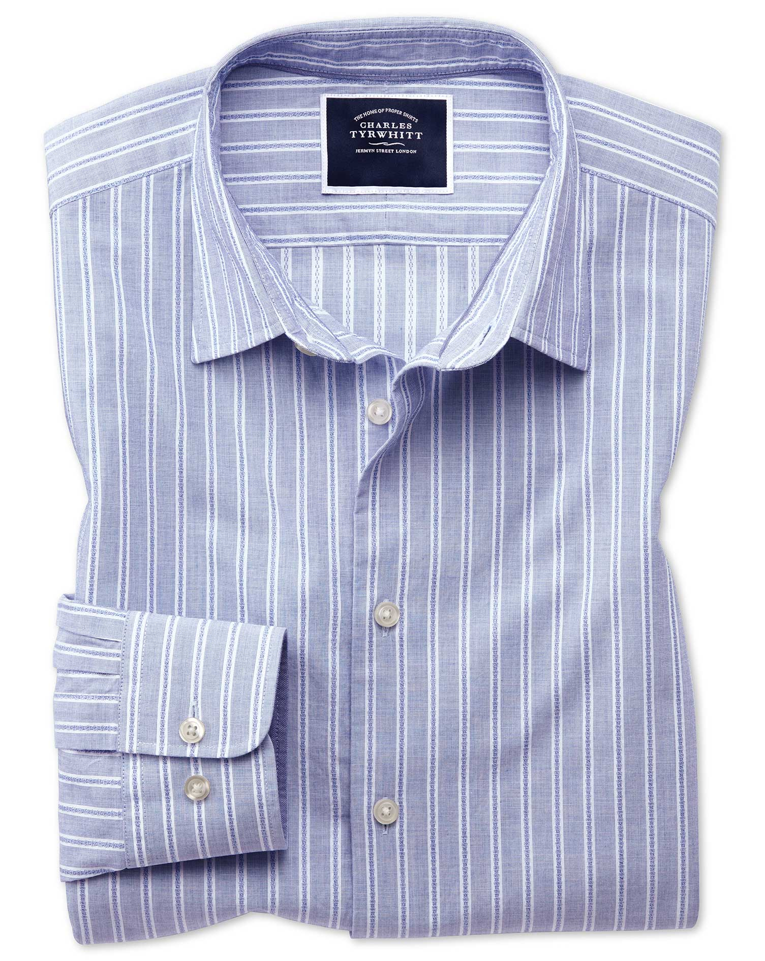 Slim Fit Blue and White Stripe Soft Texture Cotton Shirt Single Cuff Size Large by Charles Tyrwhitt