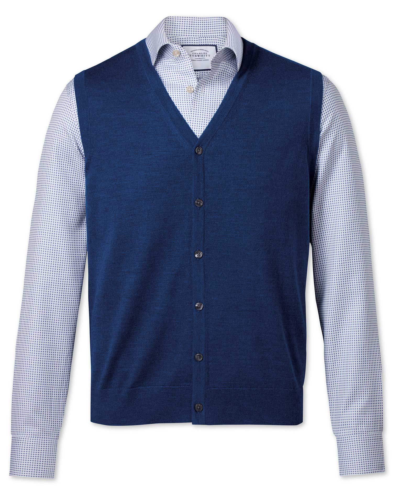 Royal Blue Merino Wool Waistcoat Size Medium by Charles Tyrwhitt