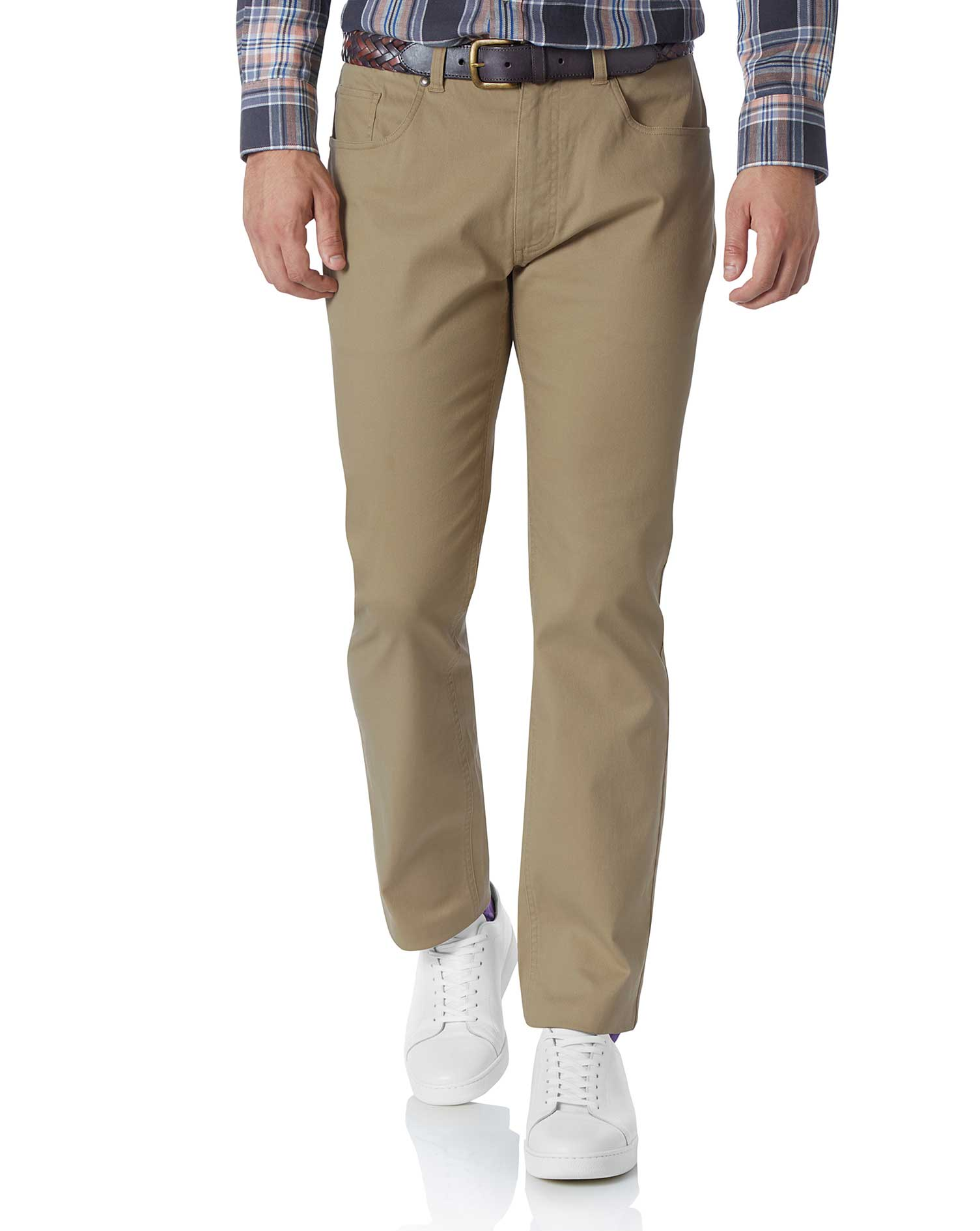 Tan Slim Fit 5 Pocket Trousers Size W40 L30 by Charles Tyrwhitt