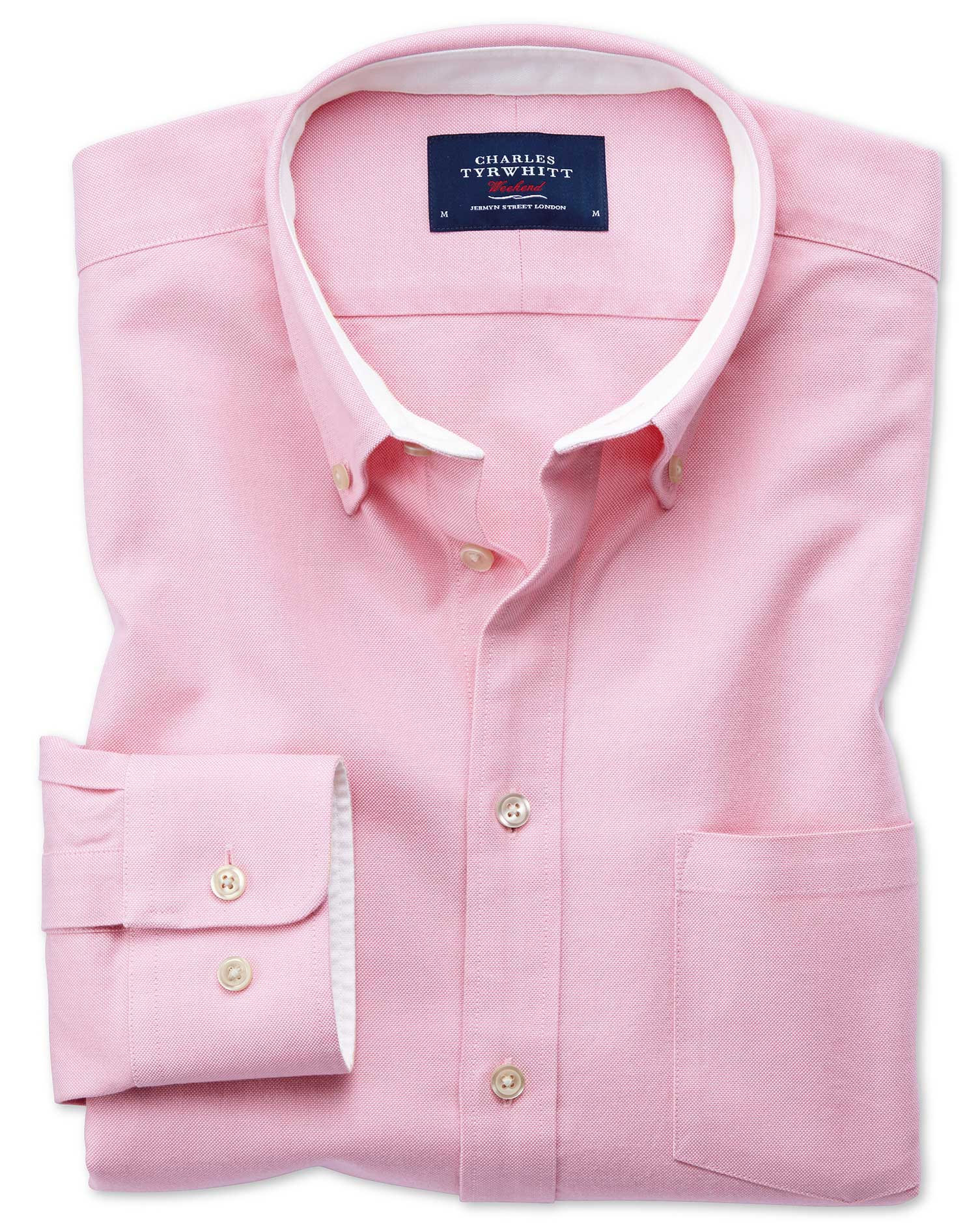 Extra Slim Fit Button-Down Washed Oxford Plain Light Pink Cotton Shirt Single Cuff Size Small by Cha