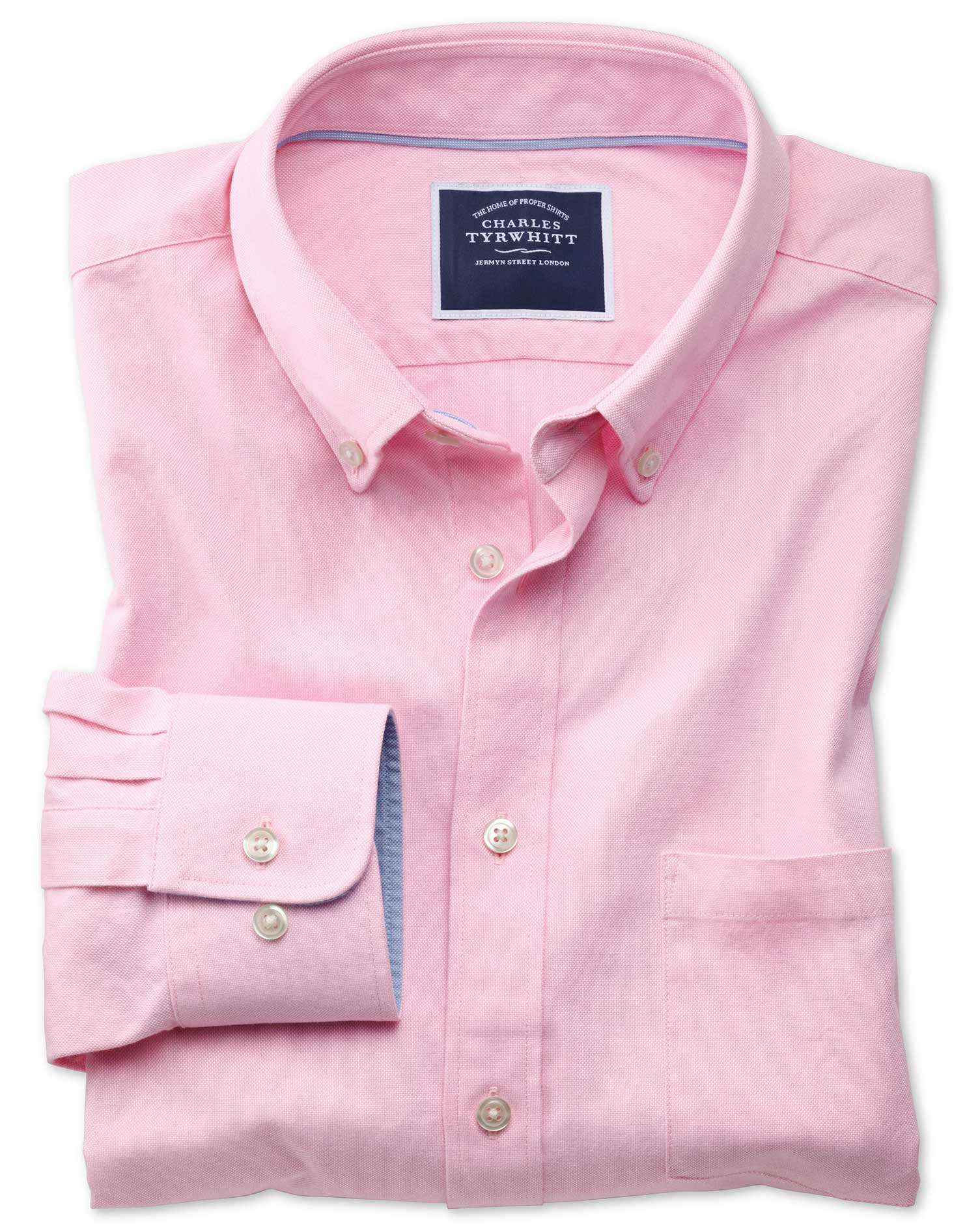 Slim Fit Button-Down Washed Oxford Plain Light Pink Cotton Shirt Single Cuff Size XXL by Charles Tyr