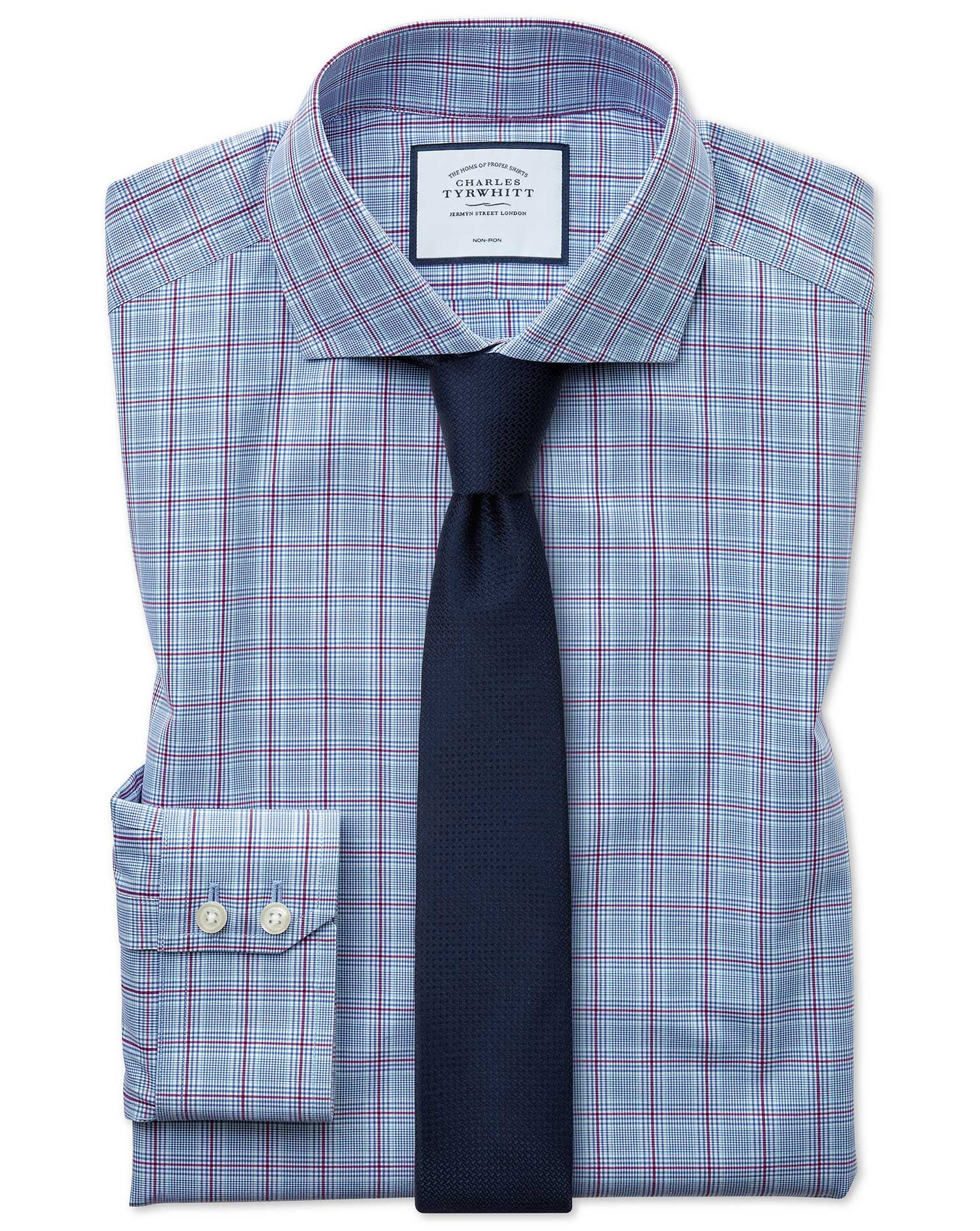 Extra Slim Fit Non-Iron Cutaway Prince Of Wales Check Blue and Purple Cotton Formal Shirt Double Cuf