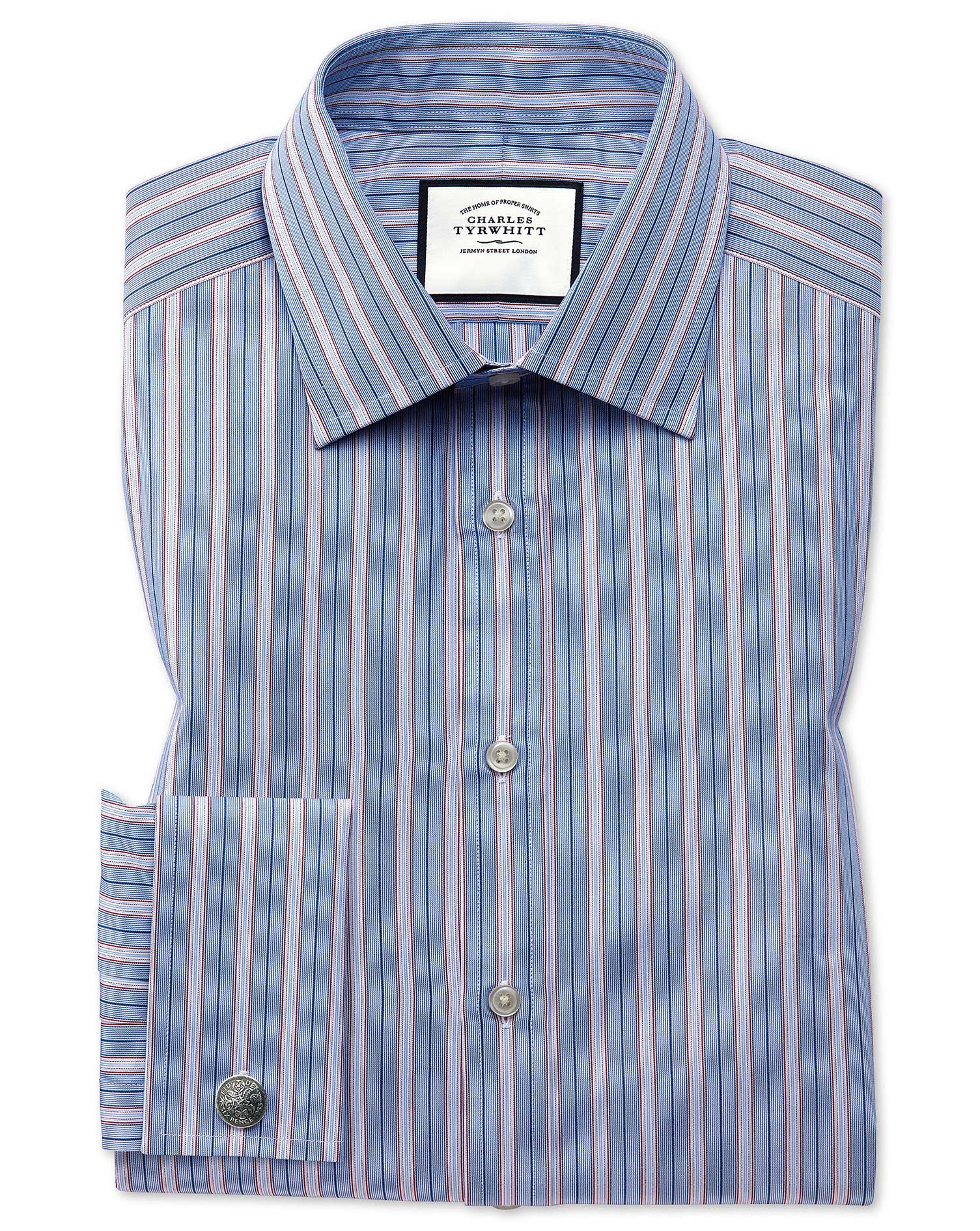 Classic Fit Red Multi Stripe Egyptian Cotton Formal Shirt Double Cuff Size 19/37 by Charles Tyrwhitt