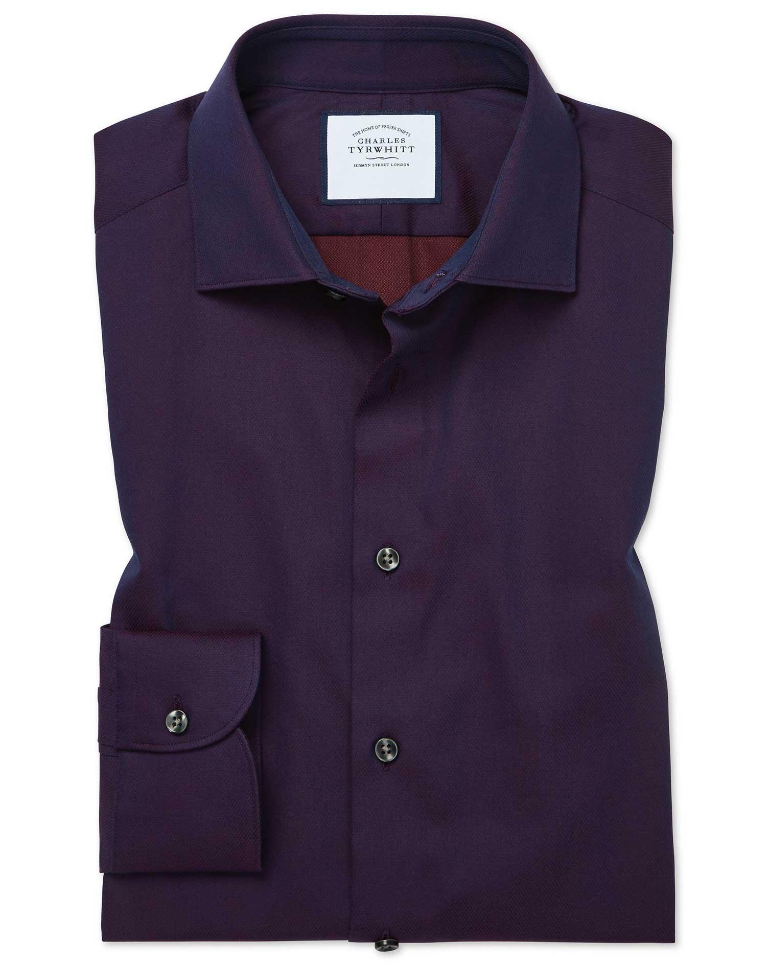 Cotton Slim Fit Micro Diamond Purple Shirt