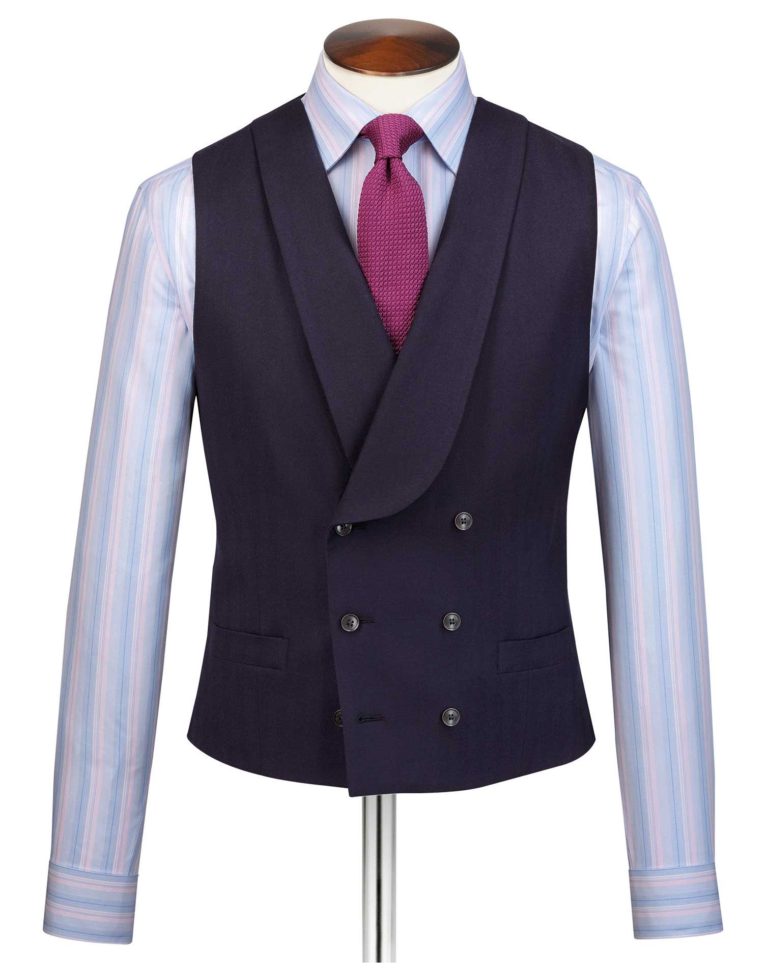 Men's Vintage Vests, Sweater Vests Navy Adjustable Fit British Luxury Suit Wool Waistcoat Size w36 by Charles Tyrwhitt £79.95 AT vintagedancer.com