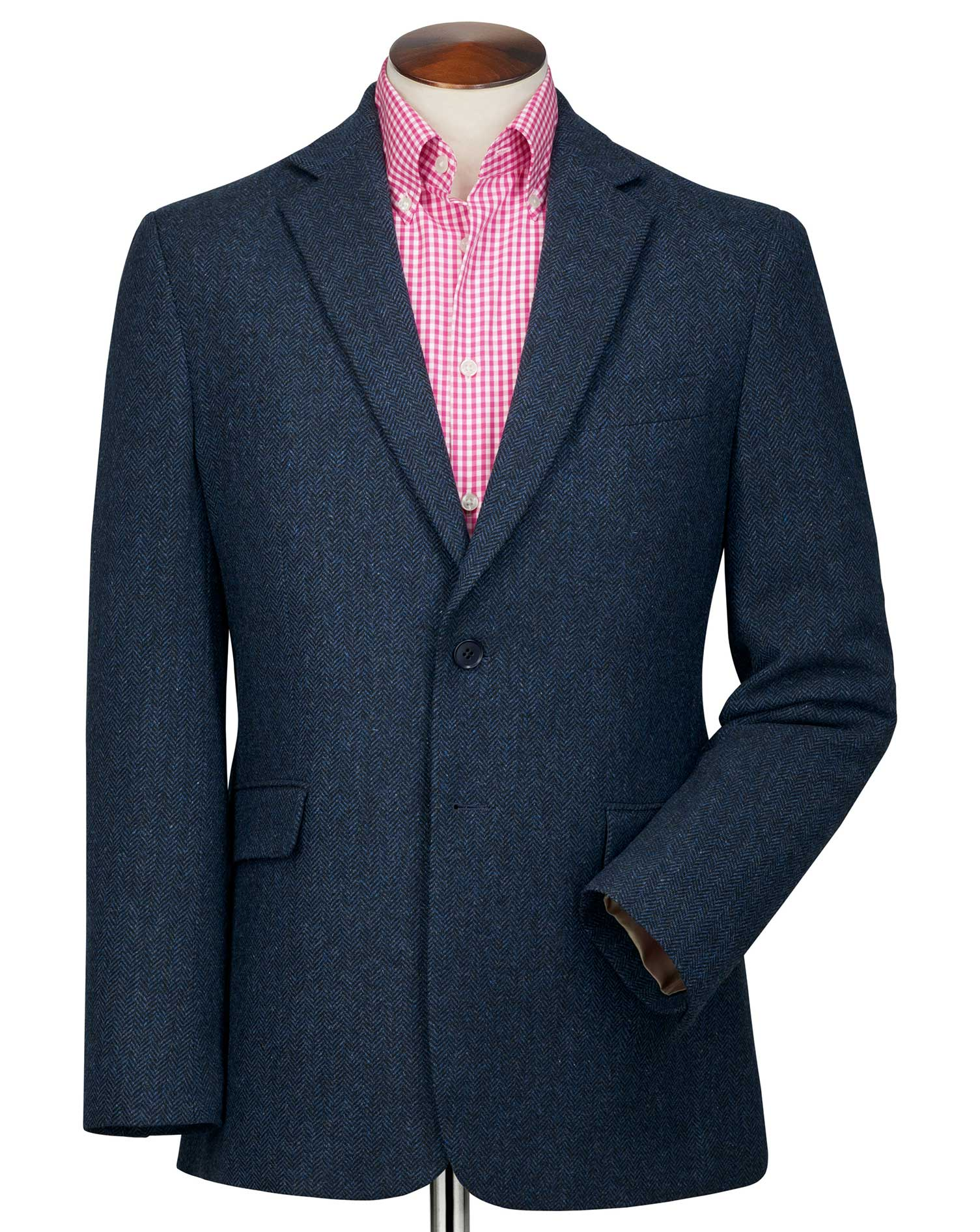Slim Fit Blue Herringbone Wool Wool Jacket Size 38 Regular by Charles Tyrwhitt