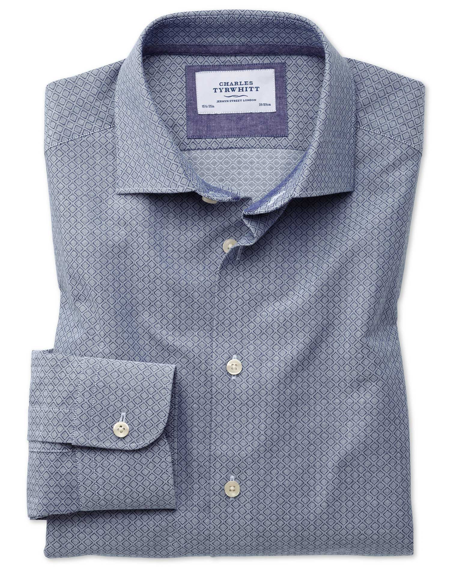 Classic Fit Semi-Cutaway Business Casual Diamond Texture Navy and Grey Cotton Formal Shirt Single Cu