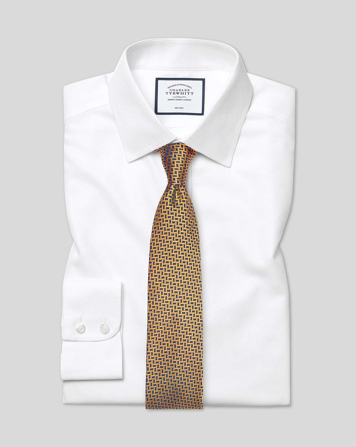 Slim Fit Non-Iron Dash Weave White Cotton Formal Shirt Single Cuff Size 15.5/35 by Charles Tyrwhitt