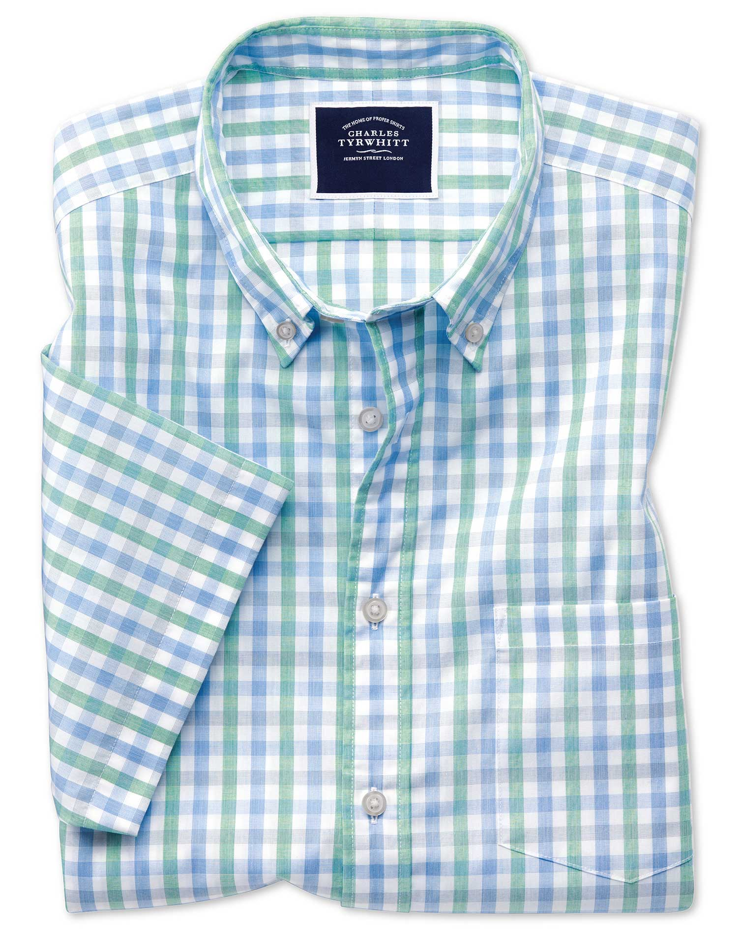 Slim Fit Green and Blue Short Sleeve Gingham Soft Washed Non-Iron Tyrwhitt Cool Cotton Shirt Single