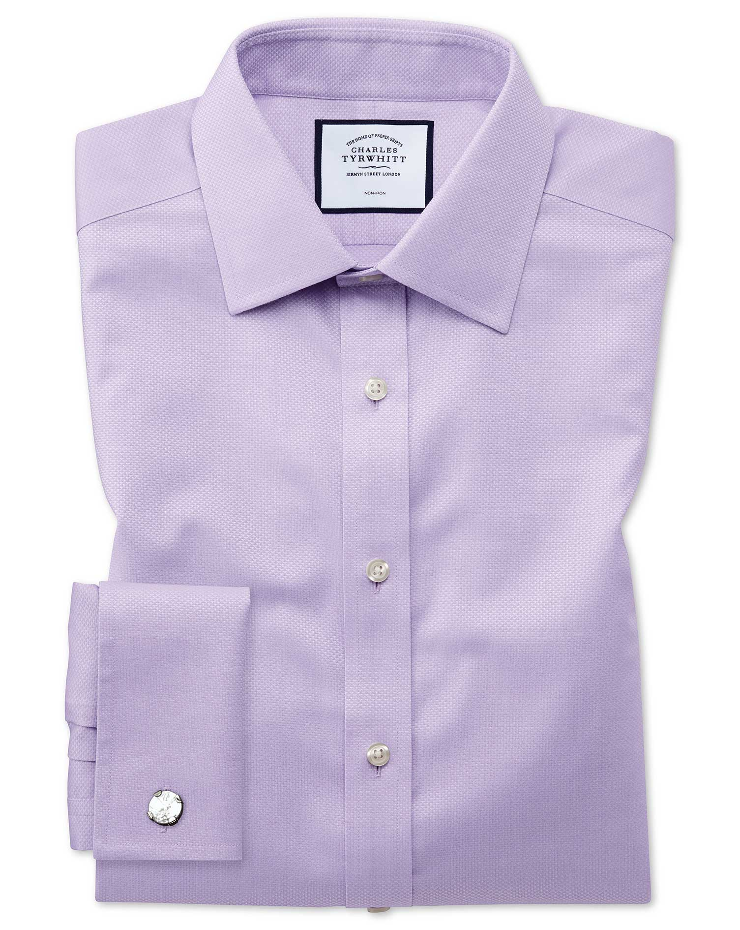 Extra Slim Fit Non-Iron Lilac Triangle Weave Cotton Formal Shirt Double Cuff Size 17/35 by Charles T