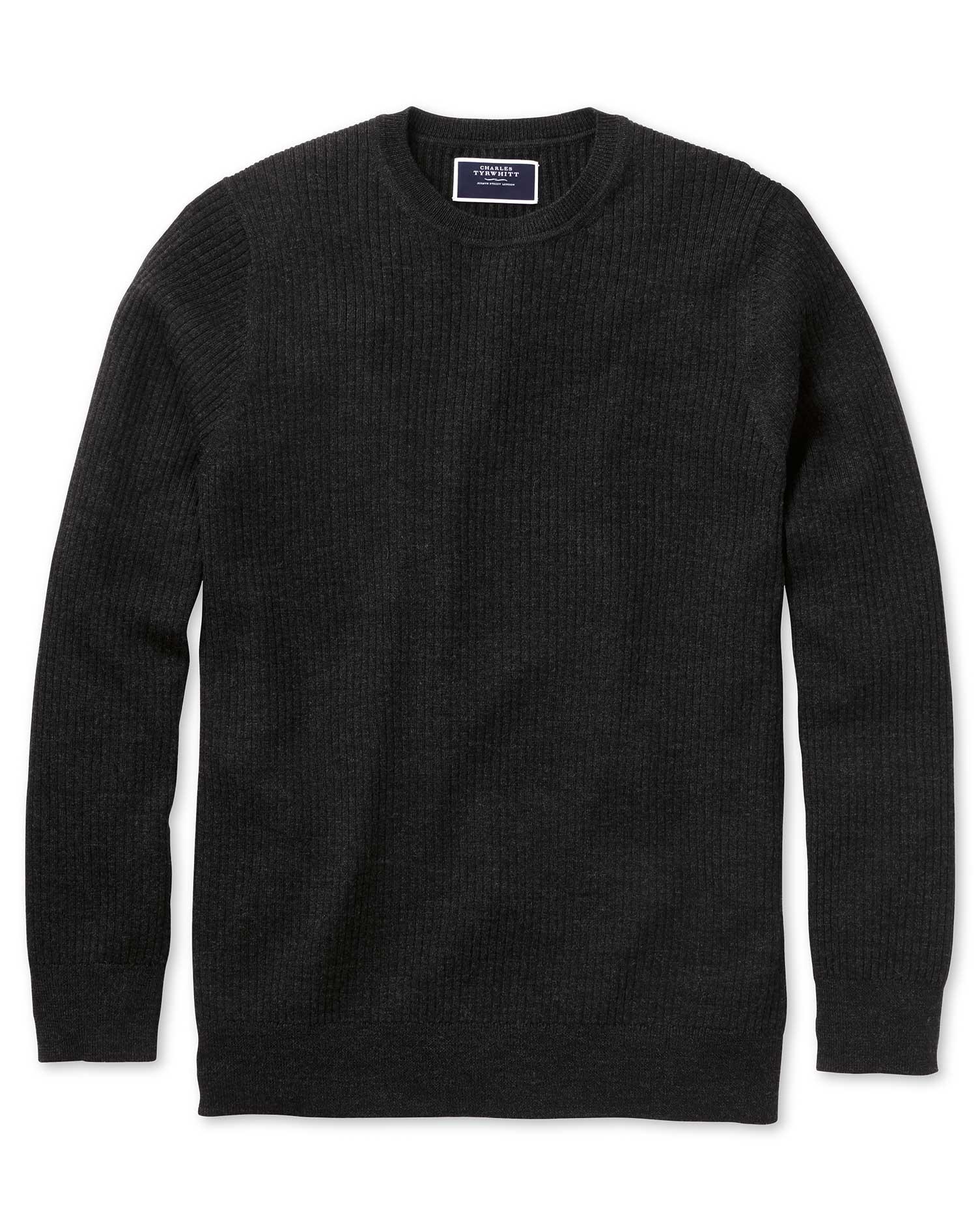 Dark Charcoal Merino Rib Crew Neck Merino Wool Jumper Size Small by Charles Tyrwhitt