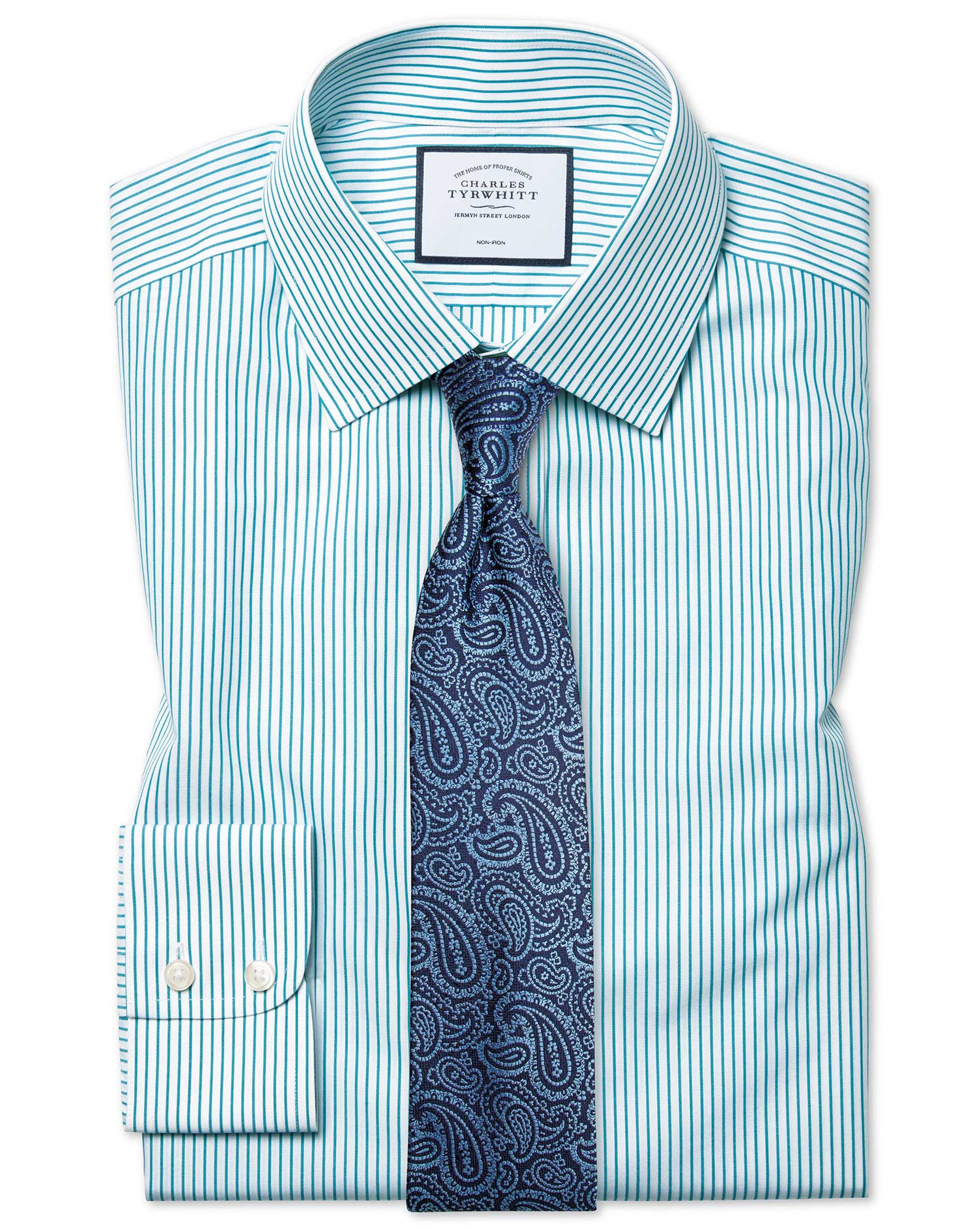 Cotton Classic Fit Non-Iron Stripe Green Shirt
