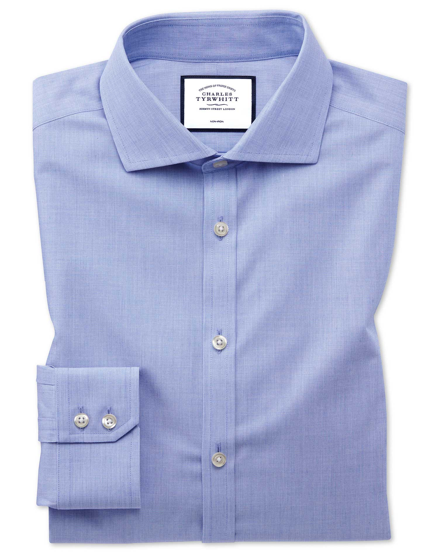 Extra Slim Fit Non-Iron 4-Way Stretch Blue Cotton Formal Shirt Single Cuff Size 15.5/37 by Charles T