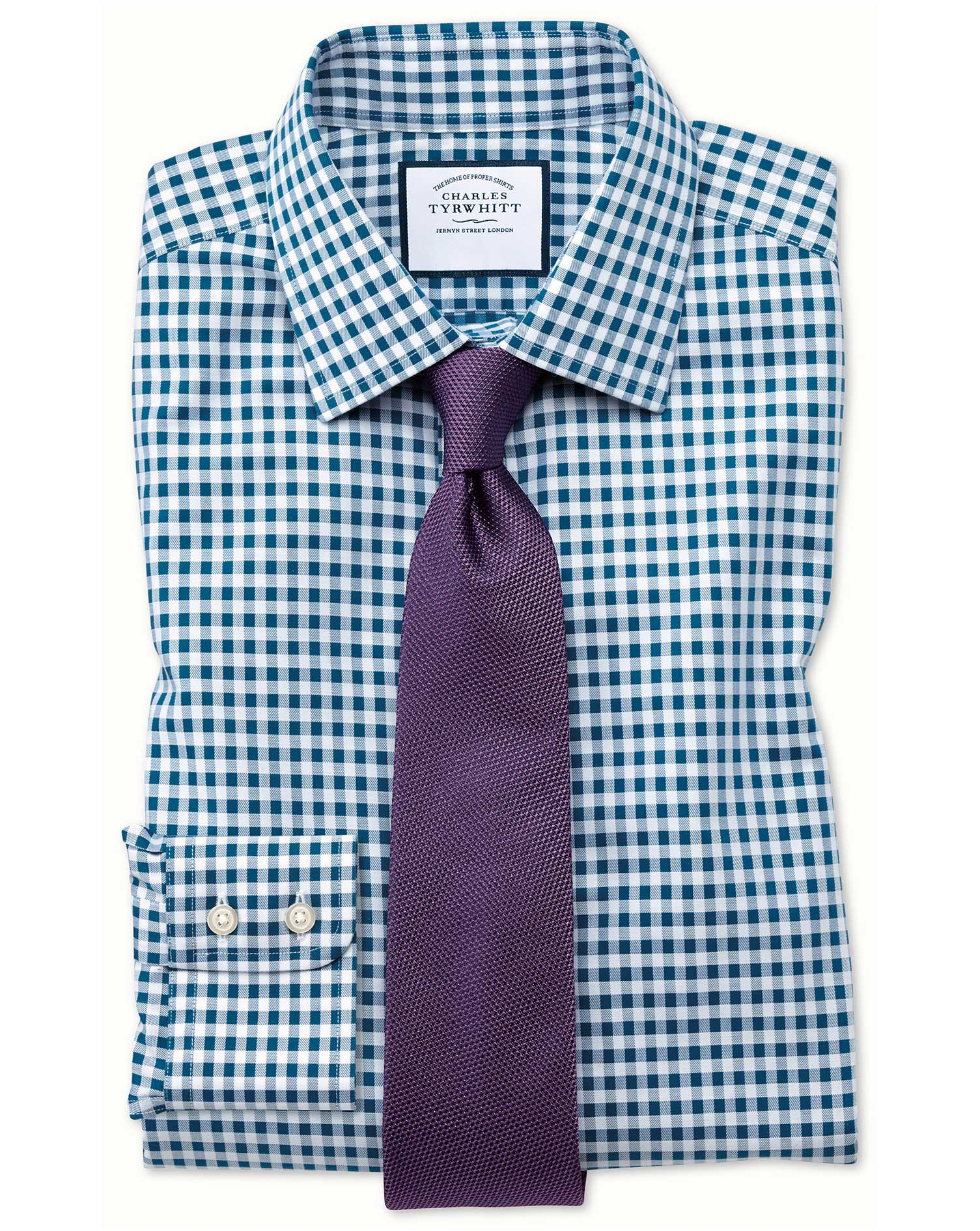 Slim Fit Non-Iron Gingham Teal Cotton Formal Shirt Single Cuff Size 16/33 by Charles Tyrwhitt
