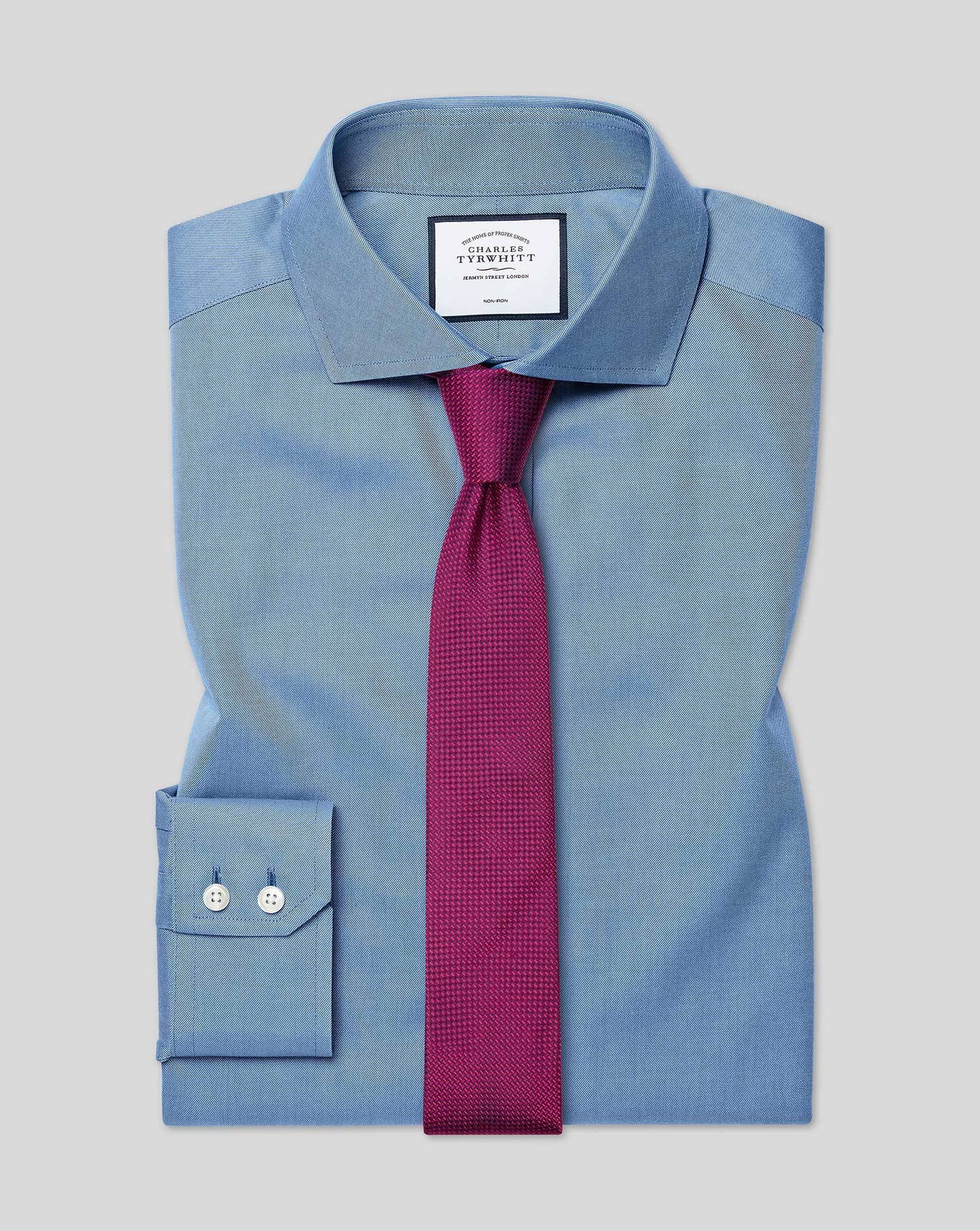 Extra Slim Fit Non-Iron Twill Blue Cotton Formal Shirt Double Cuff Size 15.5/33 by Charles Tyrwhitt
