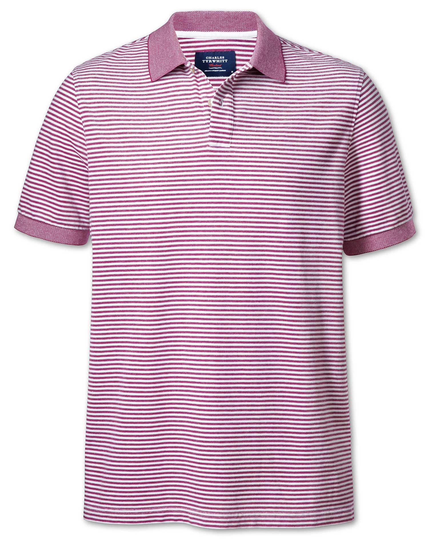 Berry and White Stripe Oxford Cotton Polo Size XS by Charles Tyrwhitt
