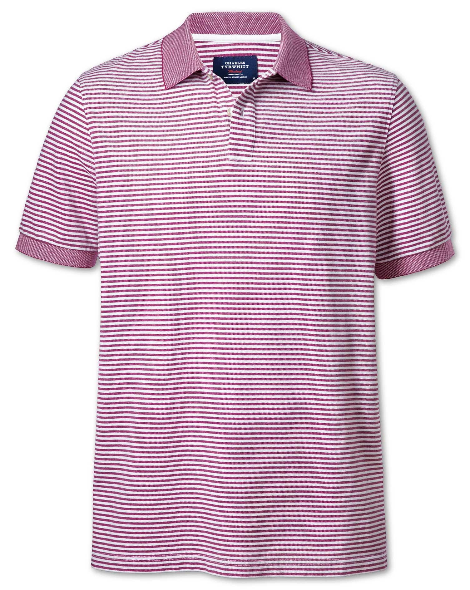 Berry and White Stripe Oxford Cotton Polo Size XXL by Charles Tyrwhitt
